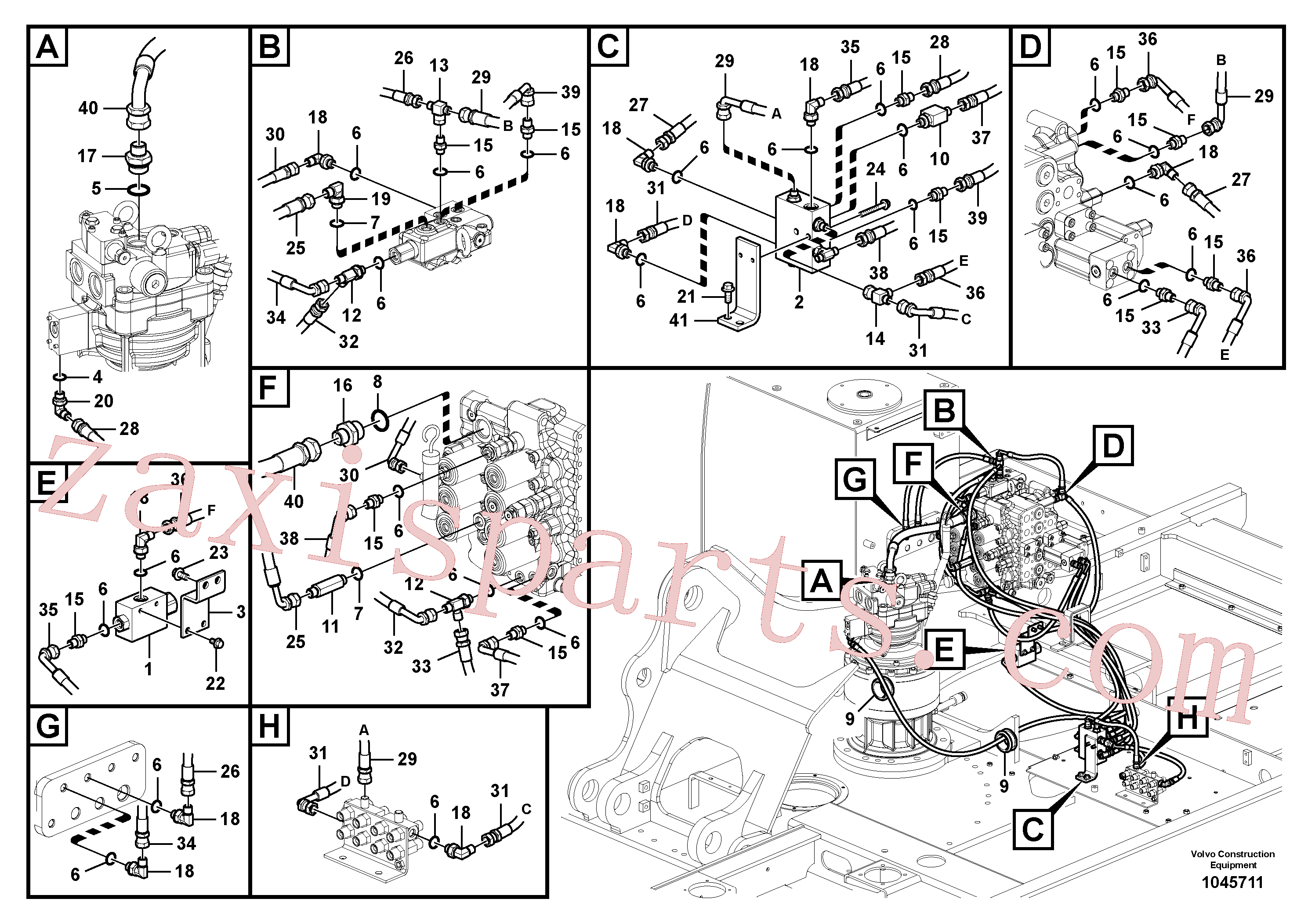 SA9451-02231 for Volvo Servo system, control valve piping.(1045711 assembly)
