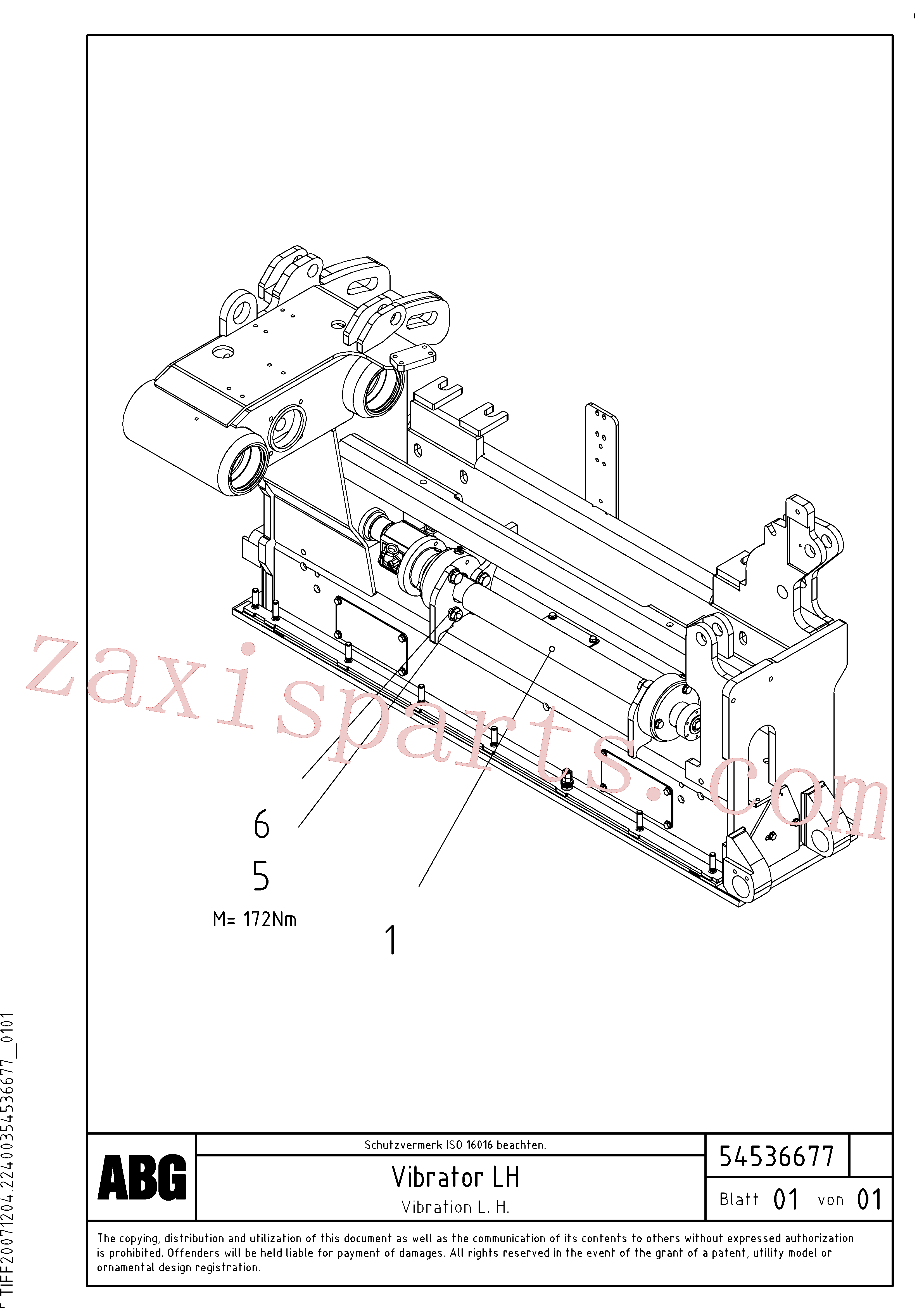 RM54476783 for Volvo Vibration axle for basic screed, Vibrator for basic screed(1046693 assembly)