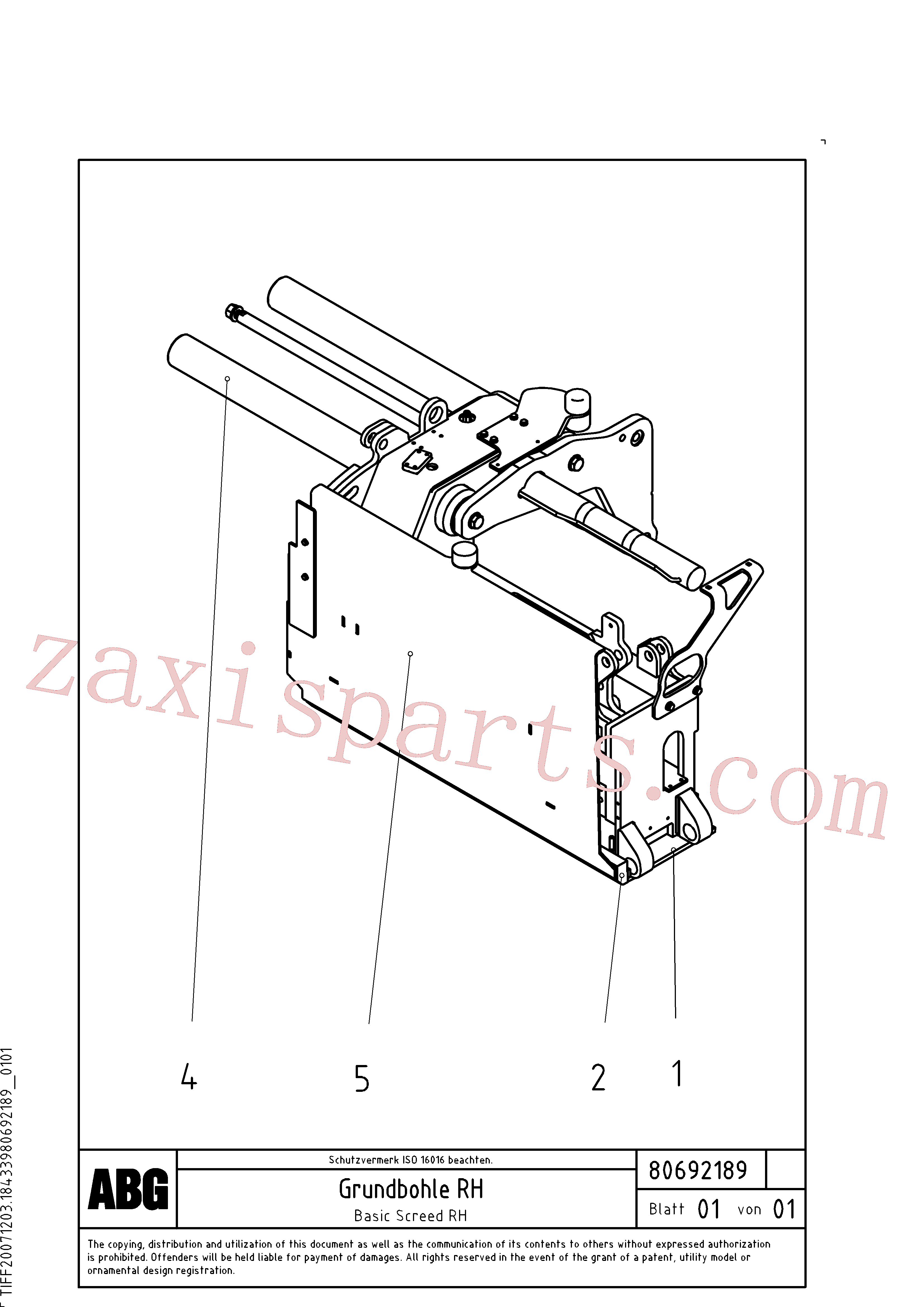 RM56294457 for Volvo Basic screed(1047116 assembly)