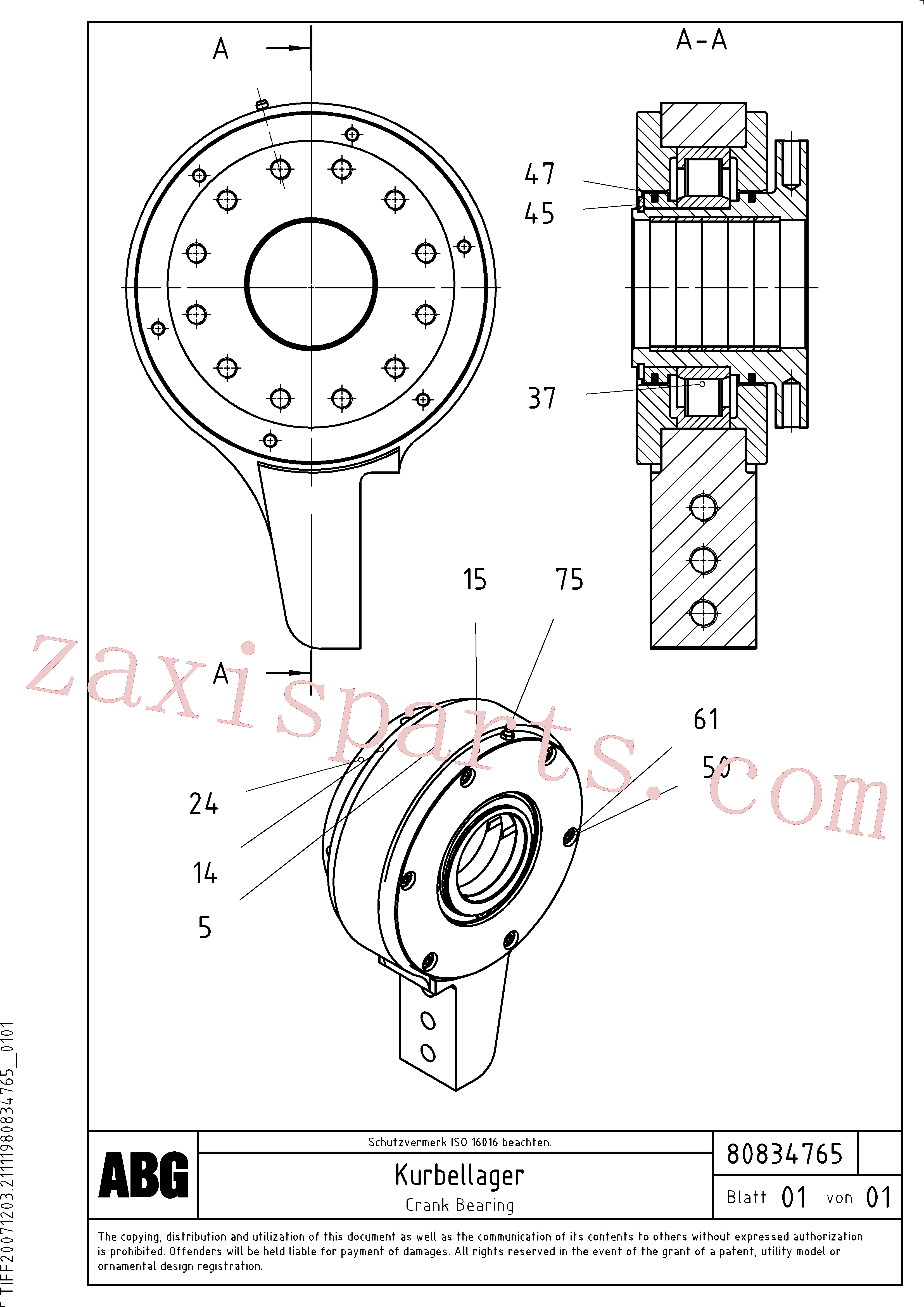RM80830615 for Volvo Crank bearing for basic screed(1047633 assembly)