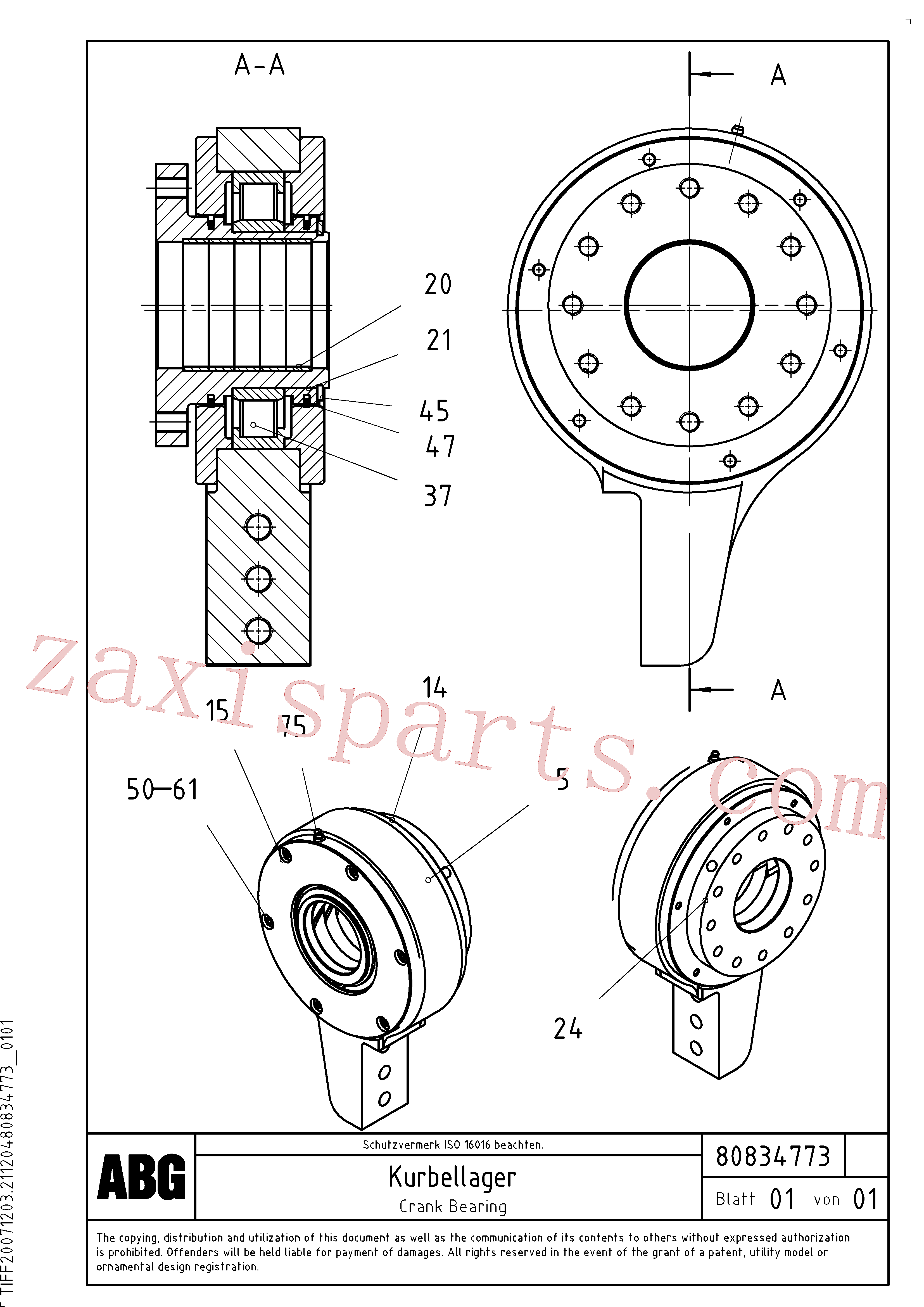 RM80830615 for Volvo Crank bearing for basic screed(1047634 assembly)