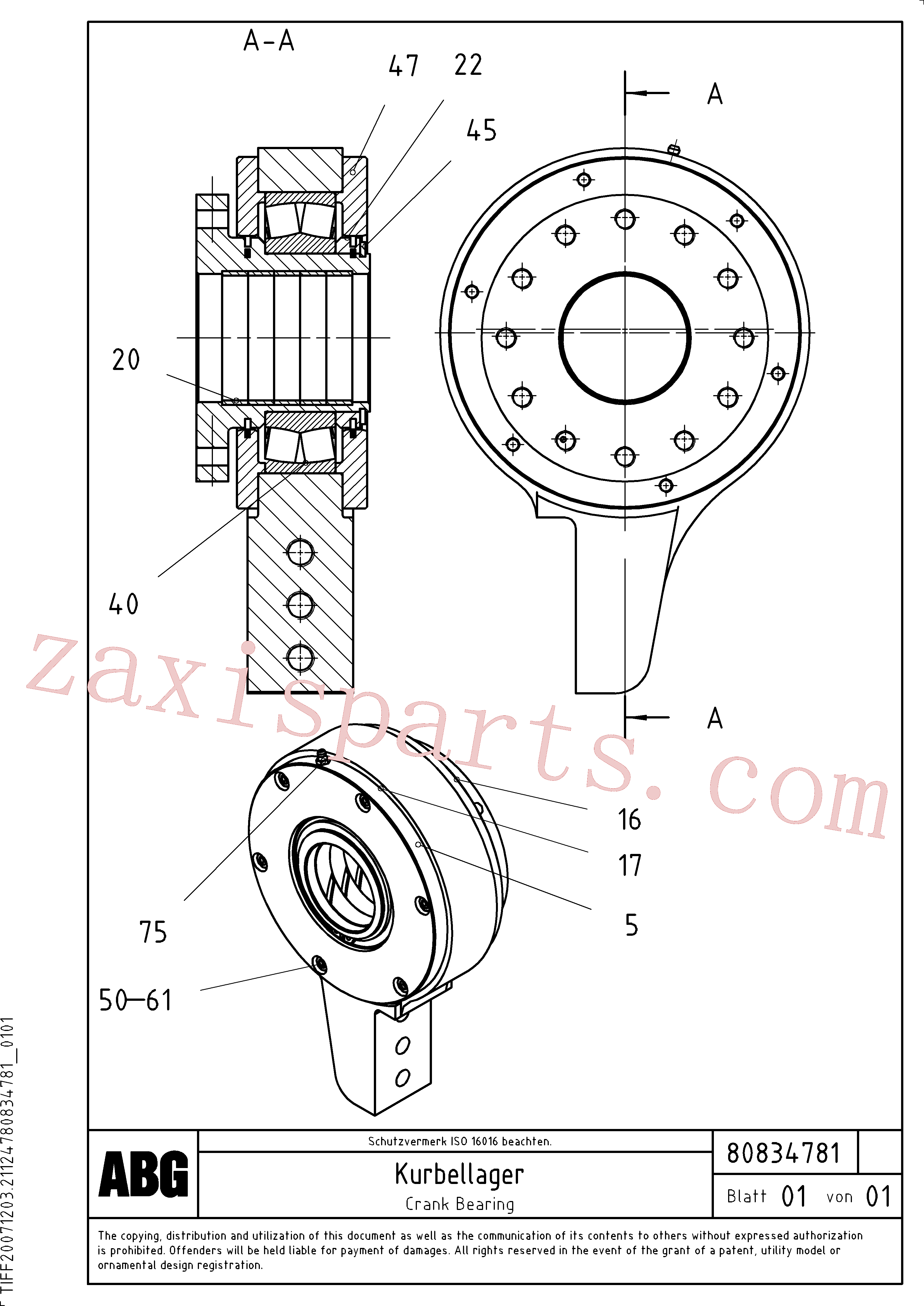 RM80830615 for Volvo Crank bearing for basic screed(1047635 assembly)