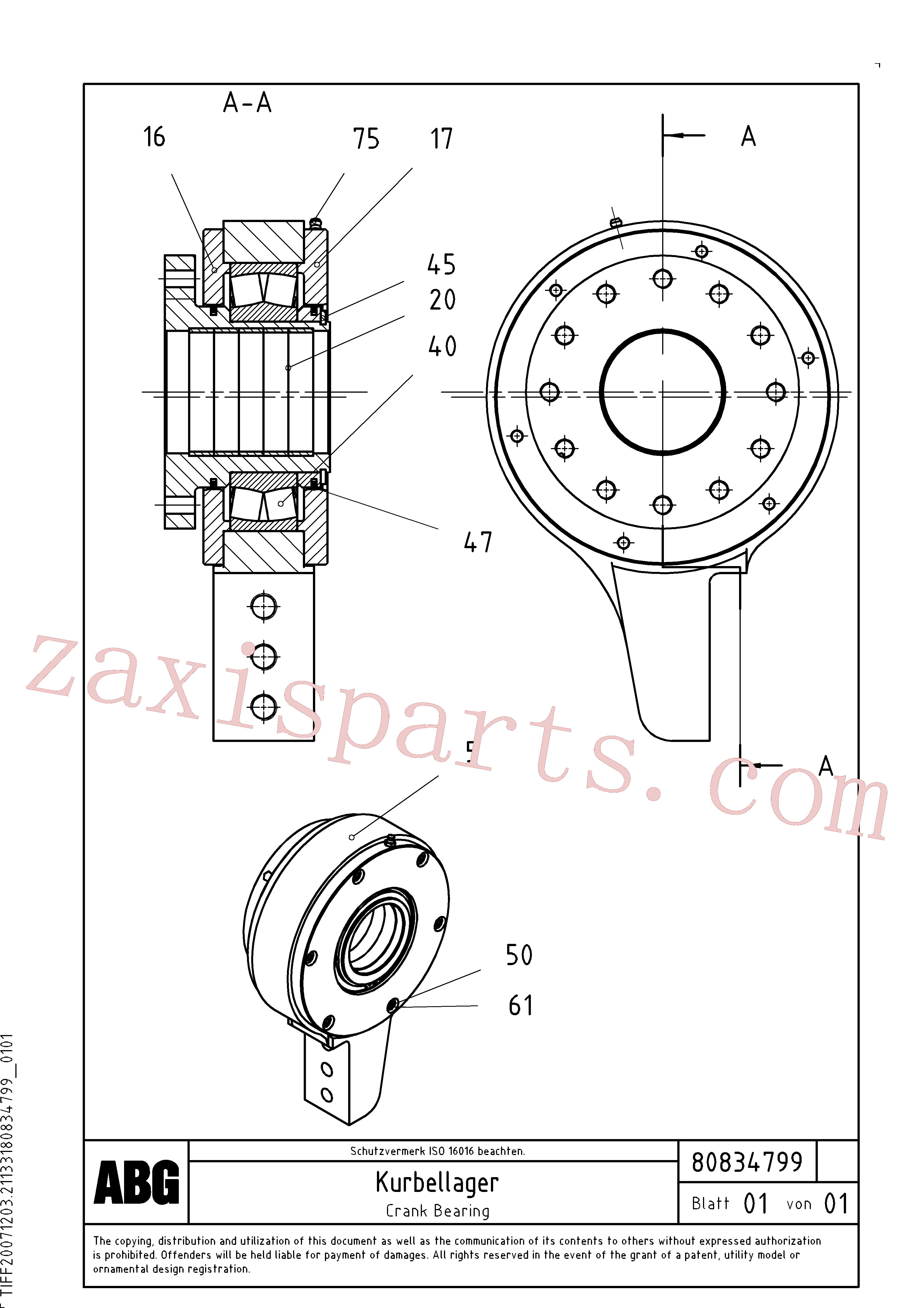 RM80830615 for Volvo Crank bearing for basic screed(1047636 assembly)