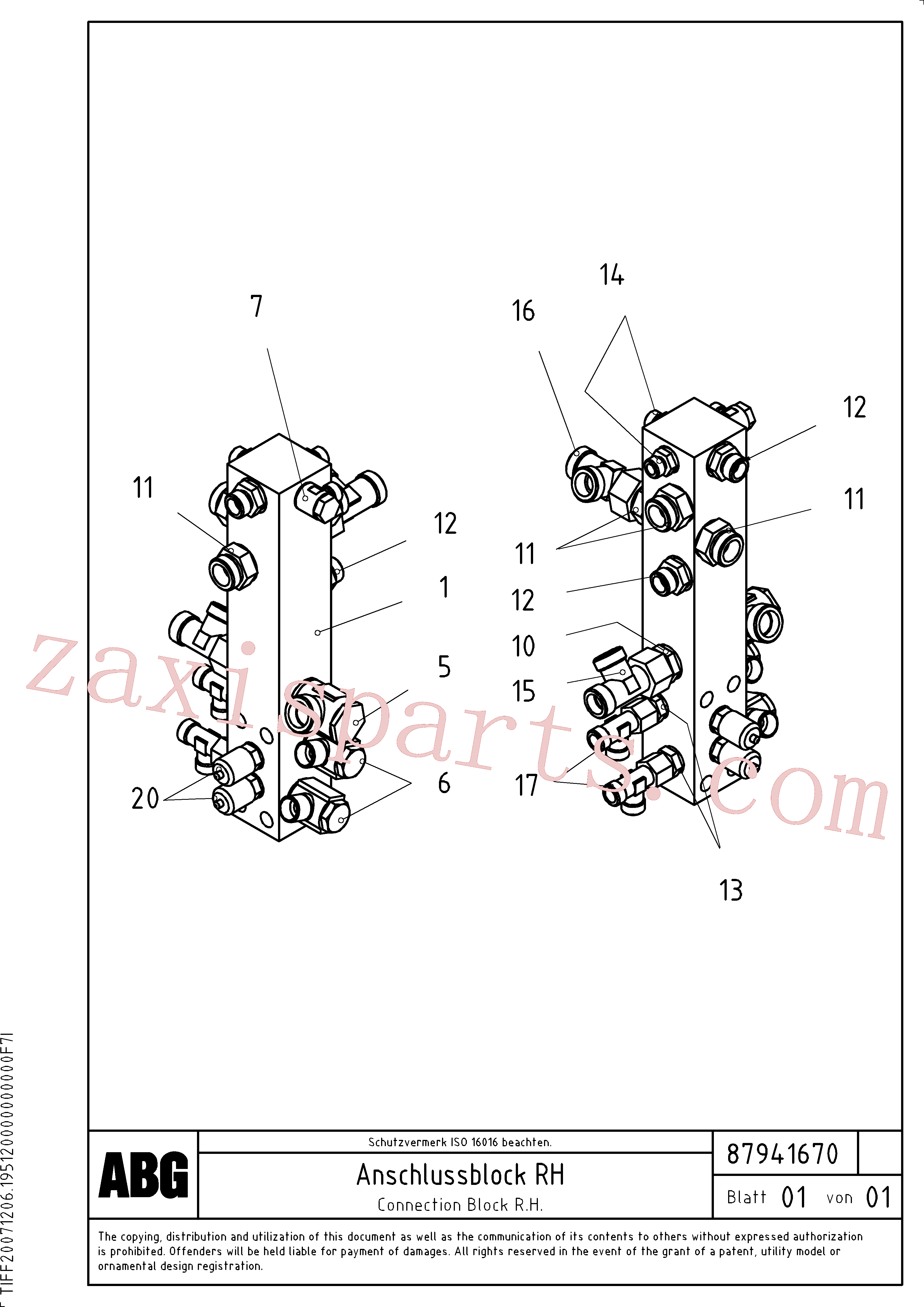 RM56251473 for Volvo Connection block on basic screed(1047936 assembly)