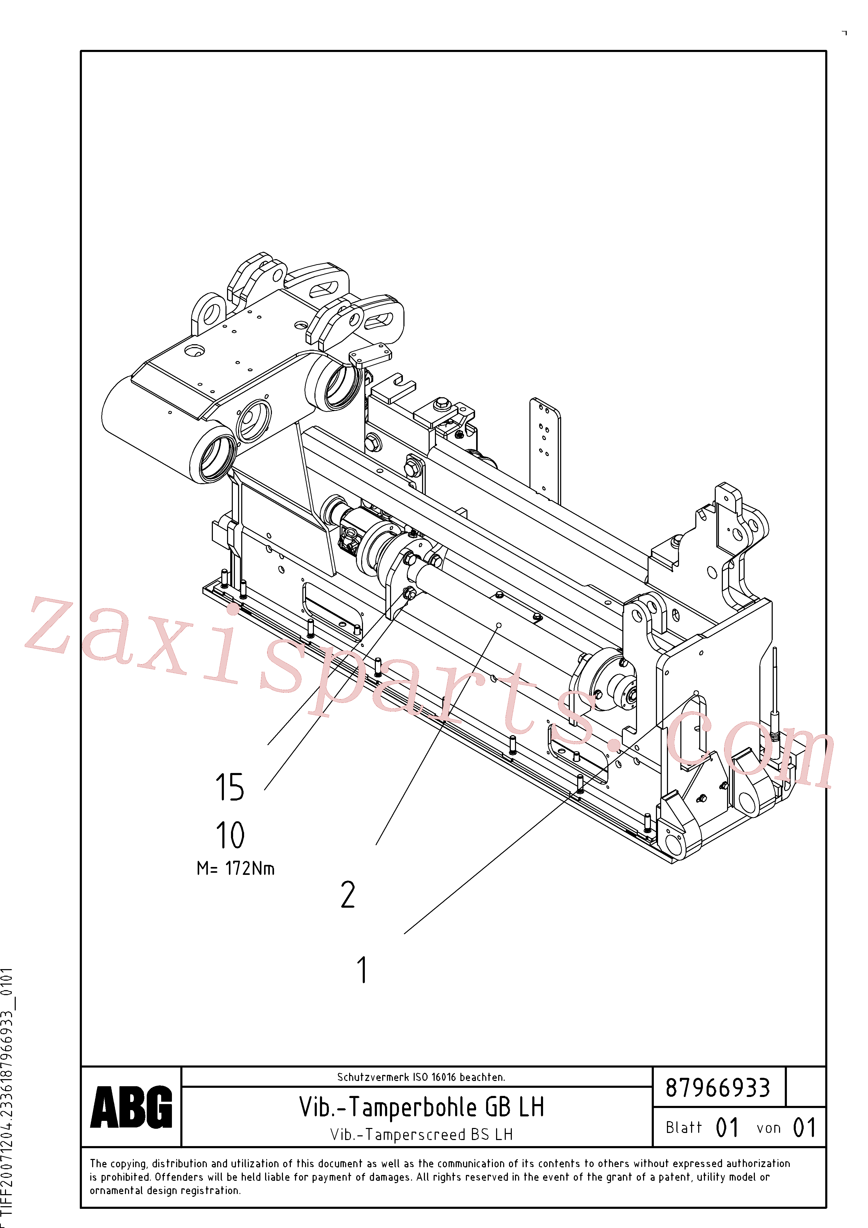RM54476783 for Volvo Vibratory - tamper screed for basic screed(1048063 assembly)