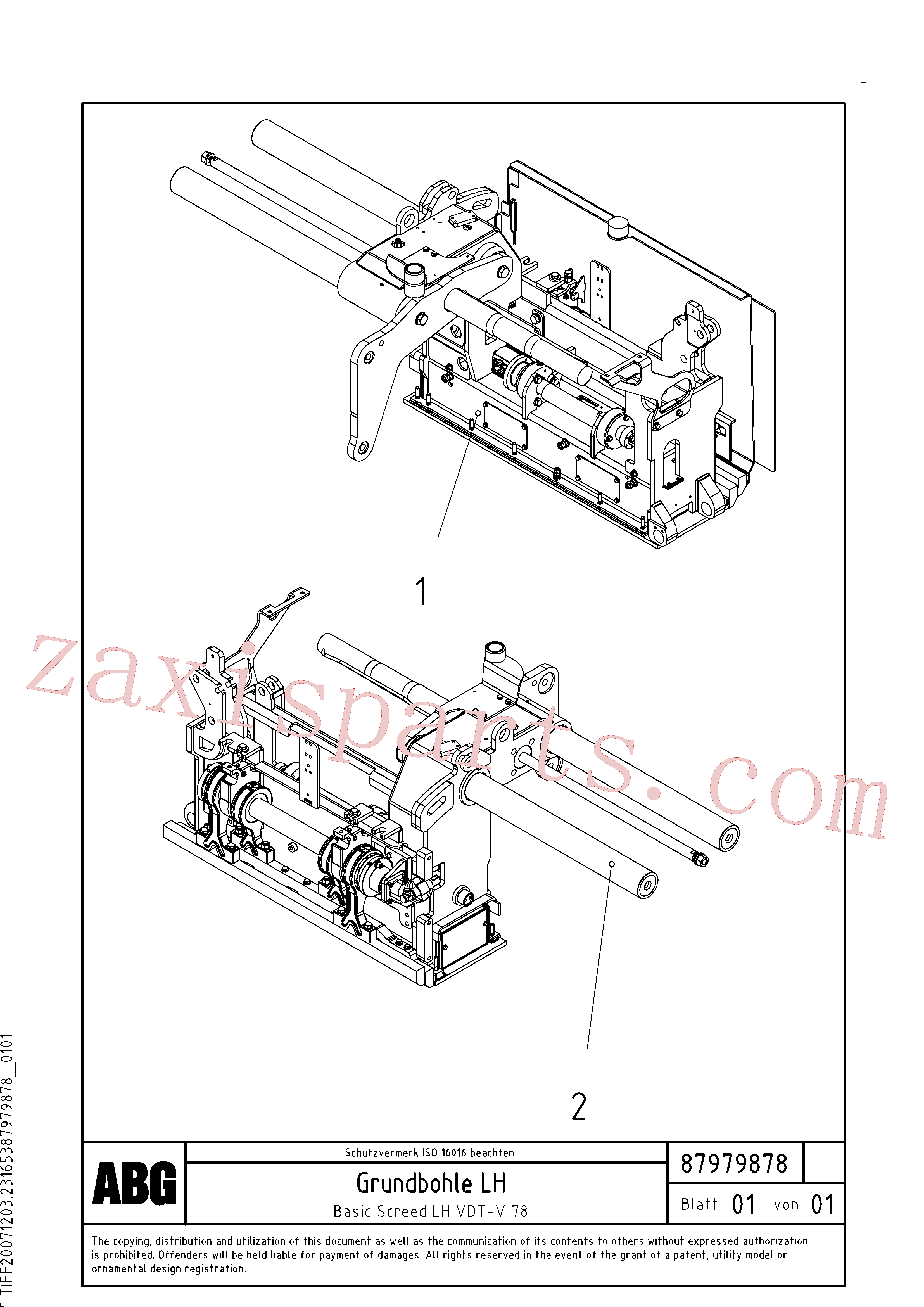 RM56294457 for Volvo Basic screed(1048218 assembly)