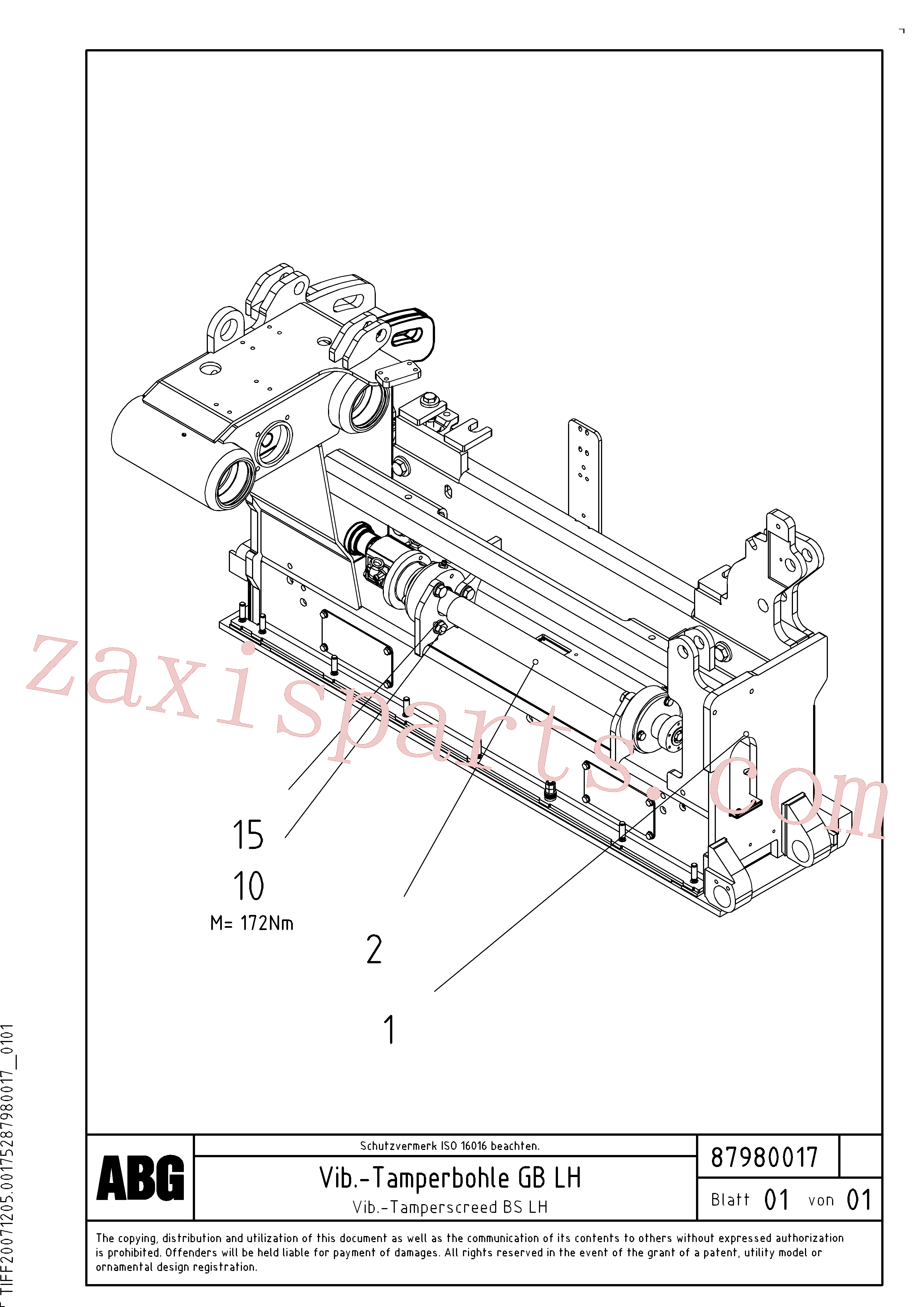RM54476783 for Volvo Vib.-tamperscreed for basic screed(1048229 assembly)