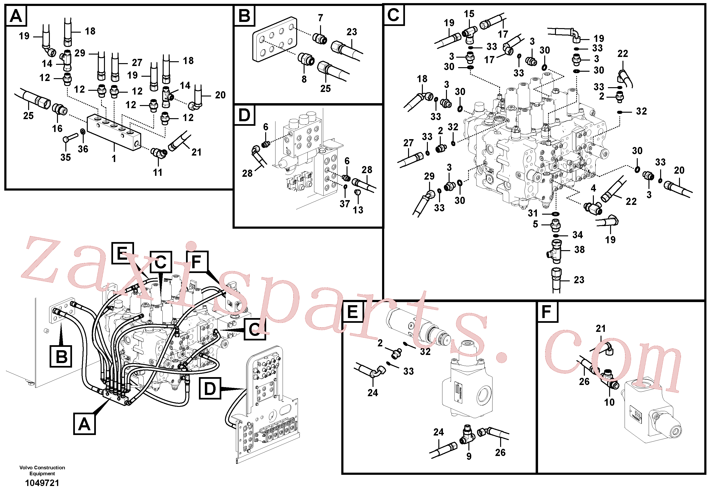 VOE14538879 for Volvo Servo system, control valve piping.(1049721 assembly)