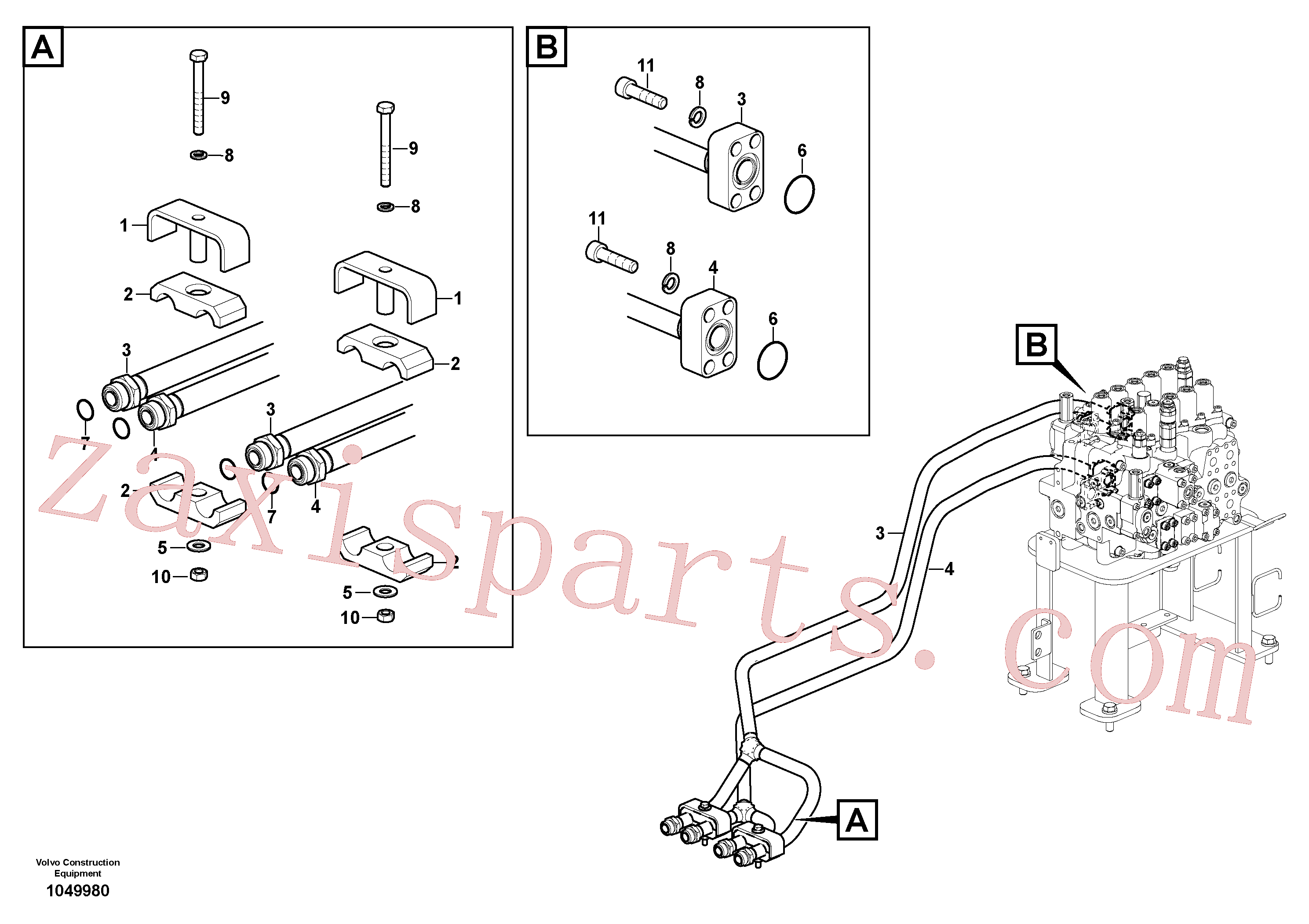 VOE14677888 for Volvo Hydraulic system, control valve to boom and swing(1049980 assembly)