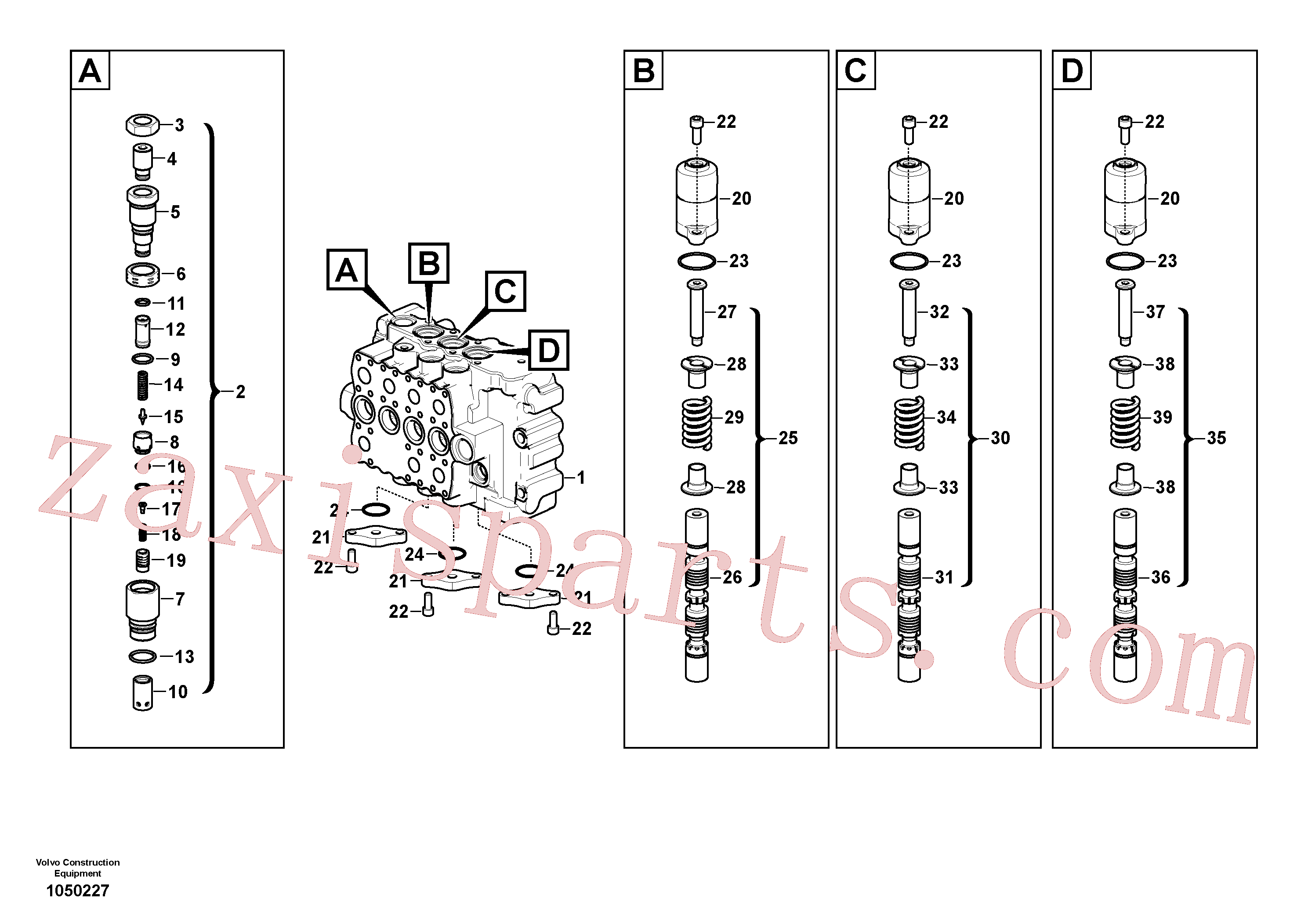 VOE14702581 for Volvo Main control valve(1050227 assembly)
