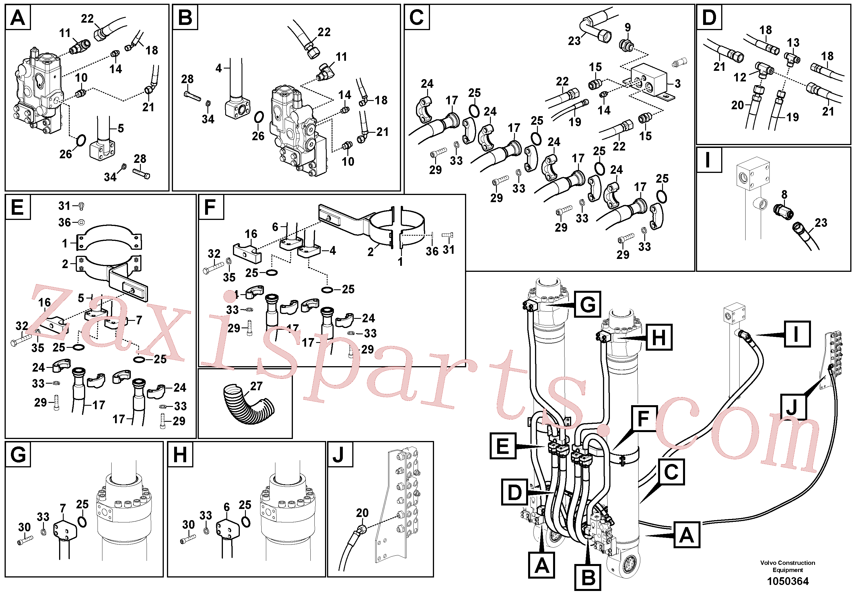 VOE14713142 for Volvo Working hydraulic, boom cylinder(1050364 assembly)