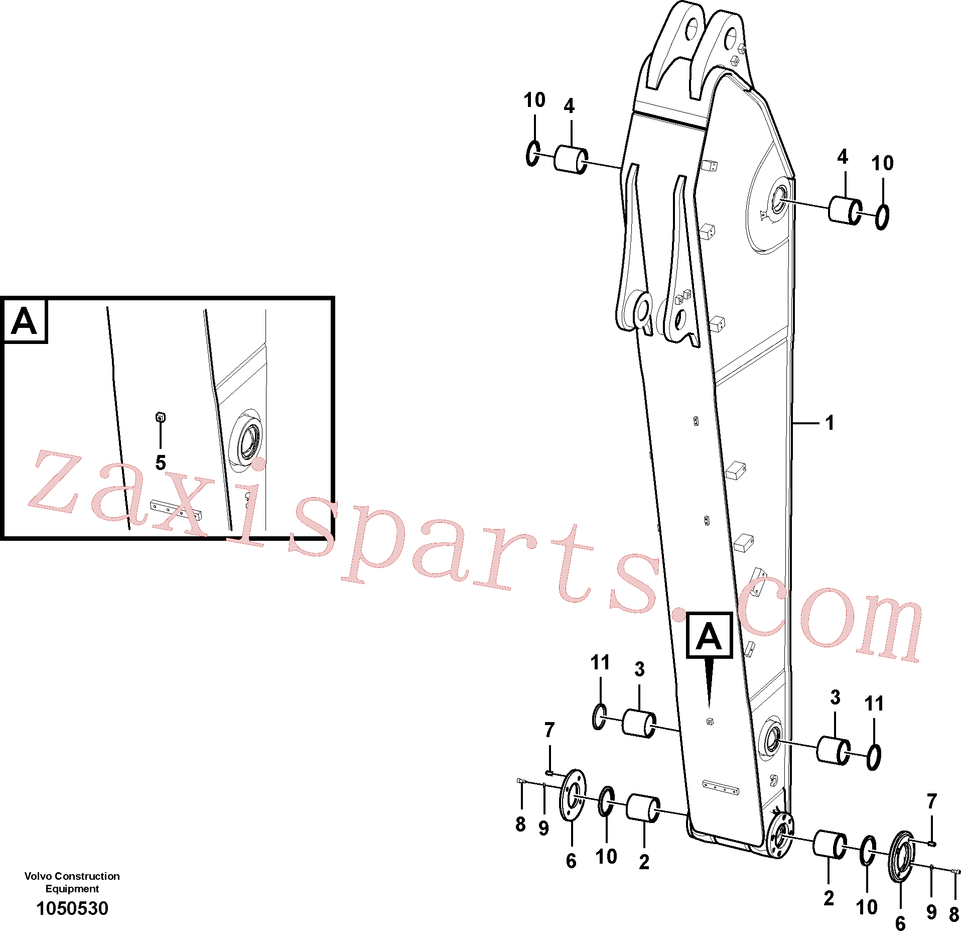 VOE14729855 for Volvo Dipper arm(1050530 assembly)