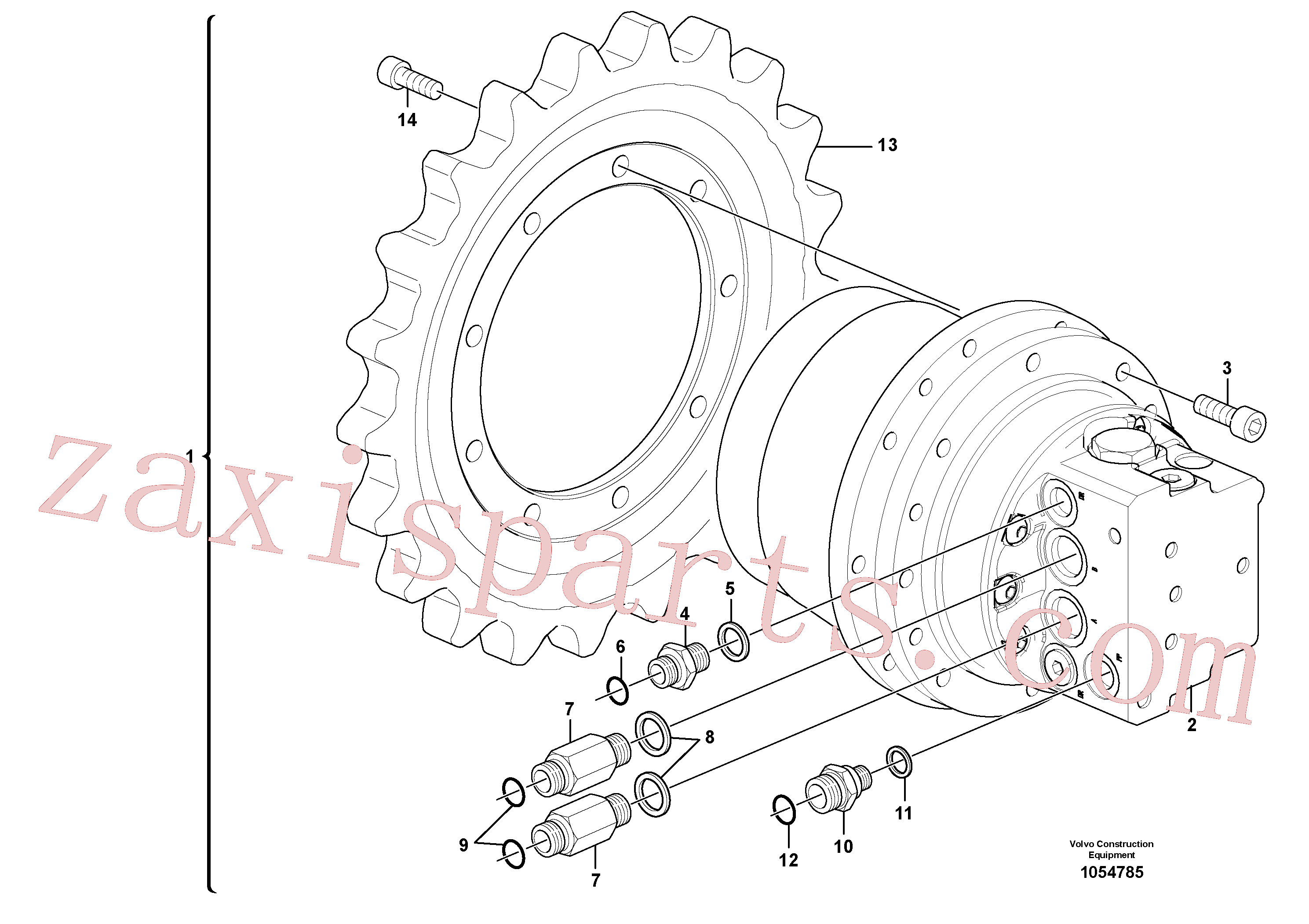 VOE4880492 for Volvo Travel motor with mounting parts(1054785 assembly)