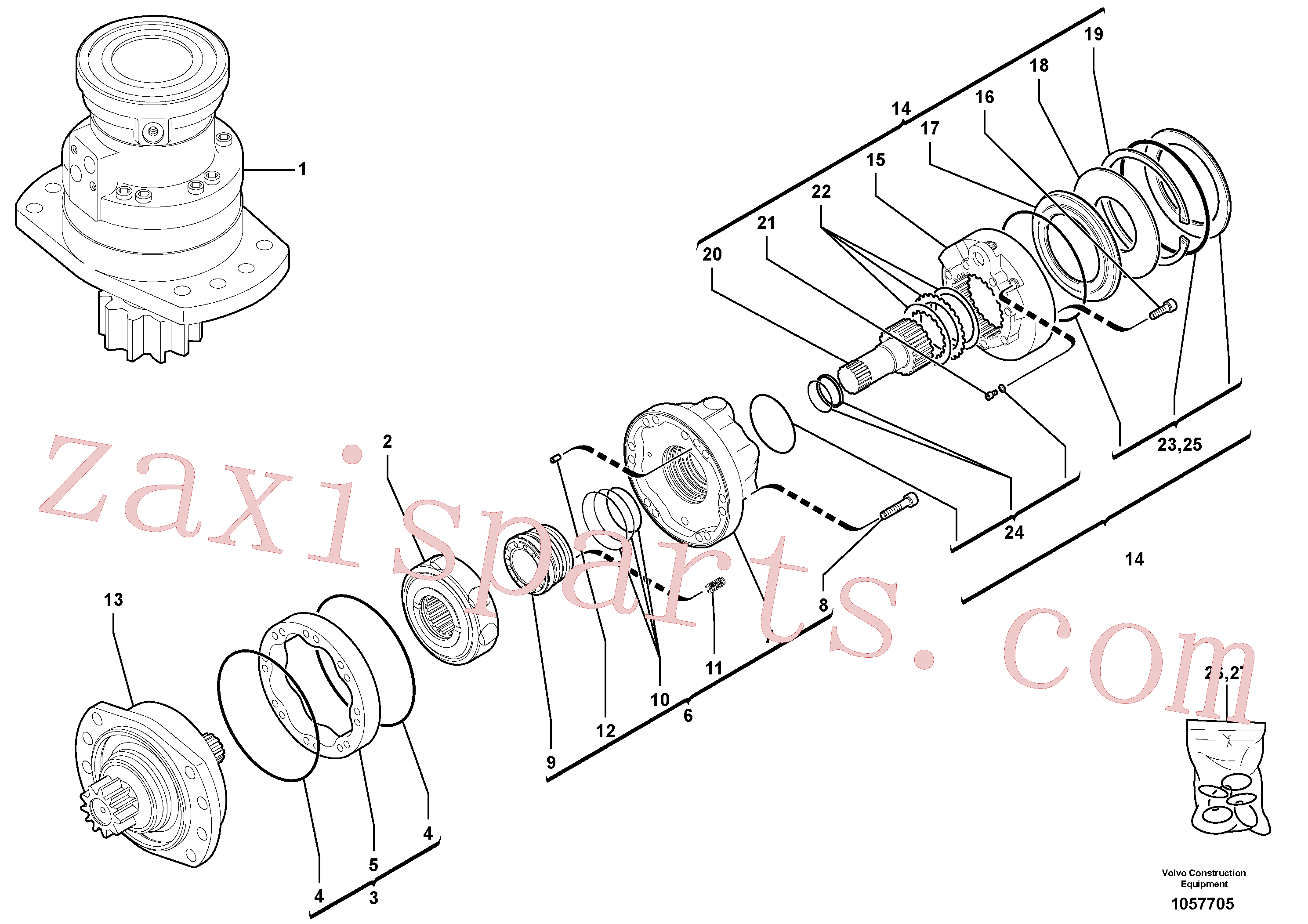 RM13281696 for Volvo Slewing gear motor(1057705 assembly)