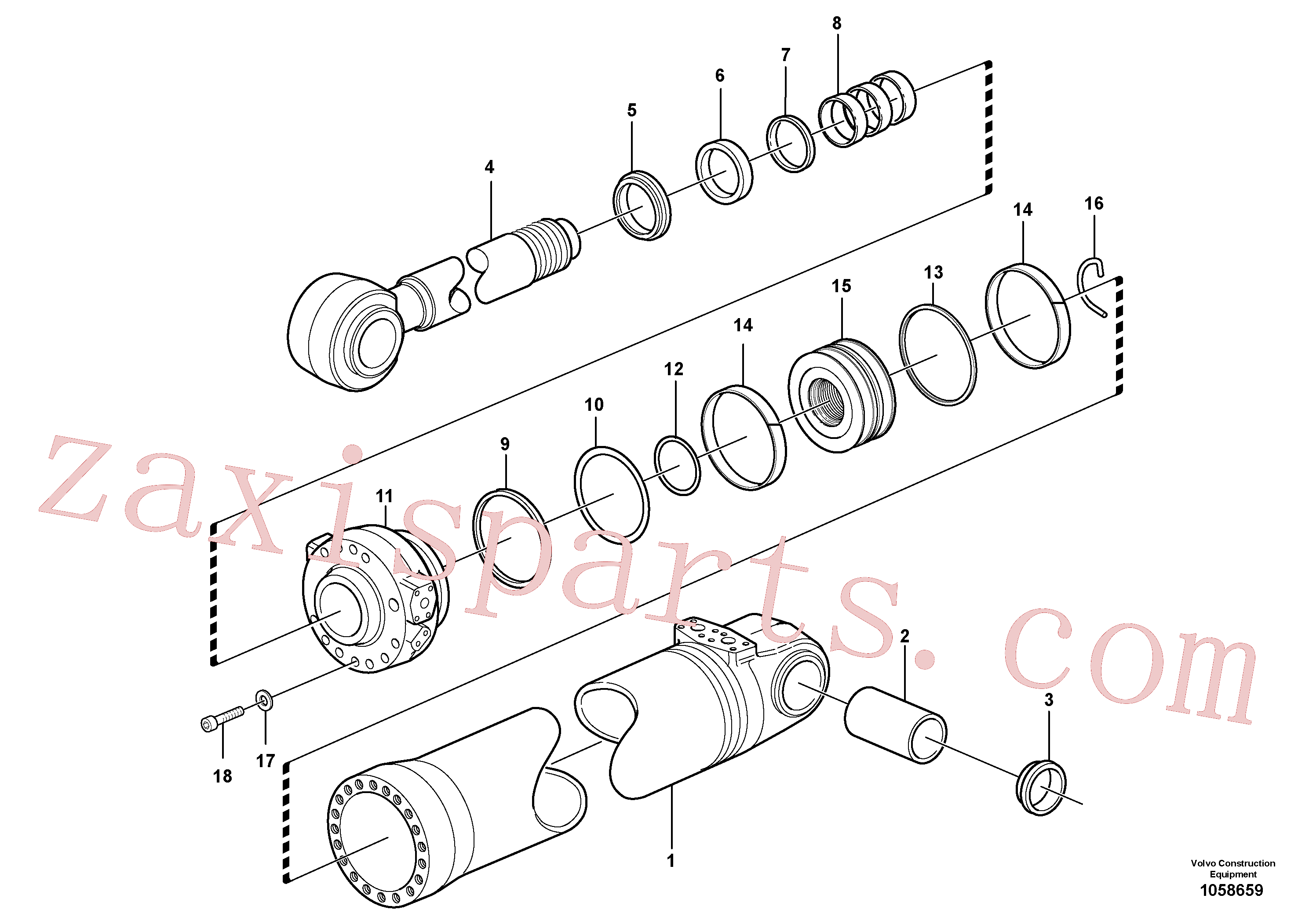 VOE941914 for Volvo Hydraulic cylinder, tilting(1058659 assembly)