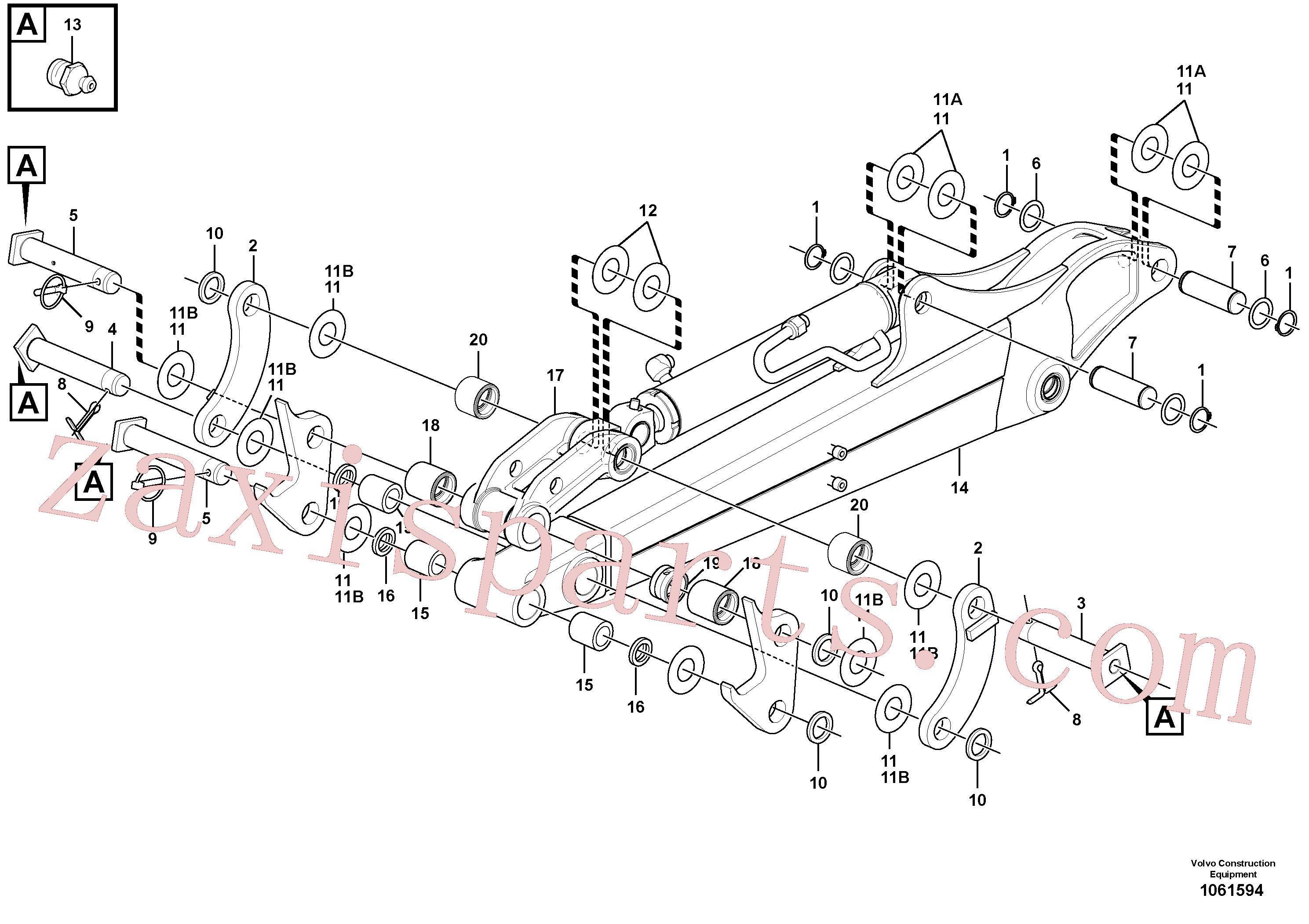 VOE11805309 for Volvo Dipper arm(1061594 assembly)