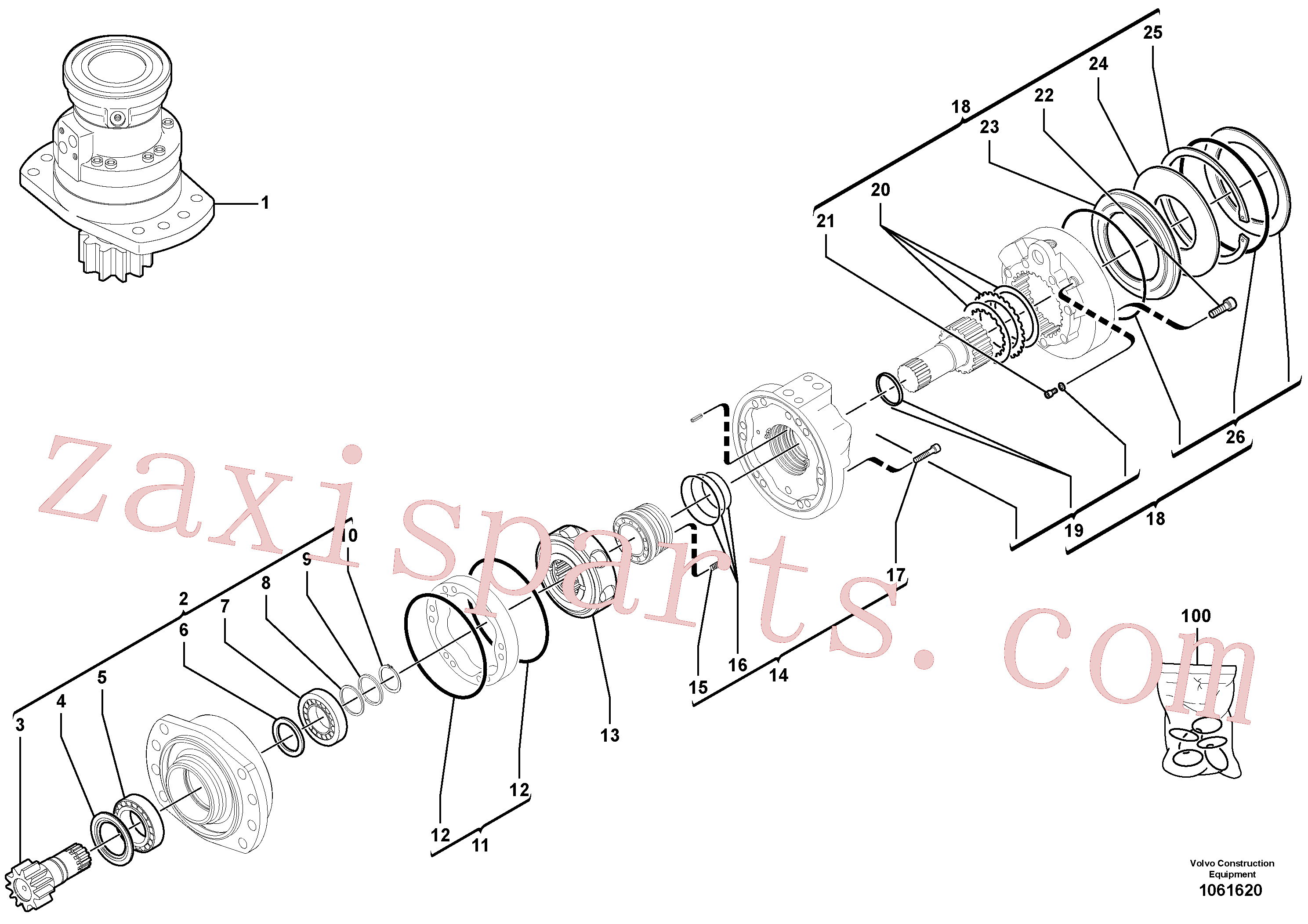 VOE11714985 for Volvo Slewing gear motor(1061620 assembly)