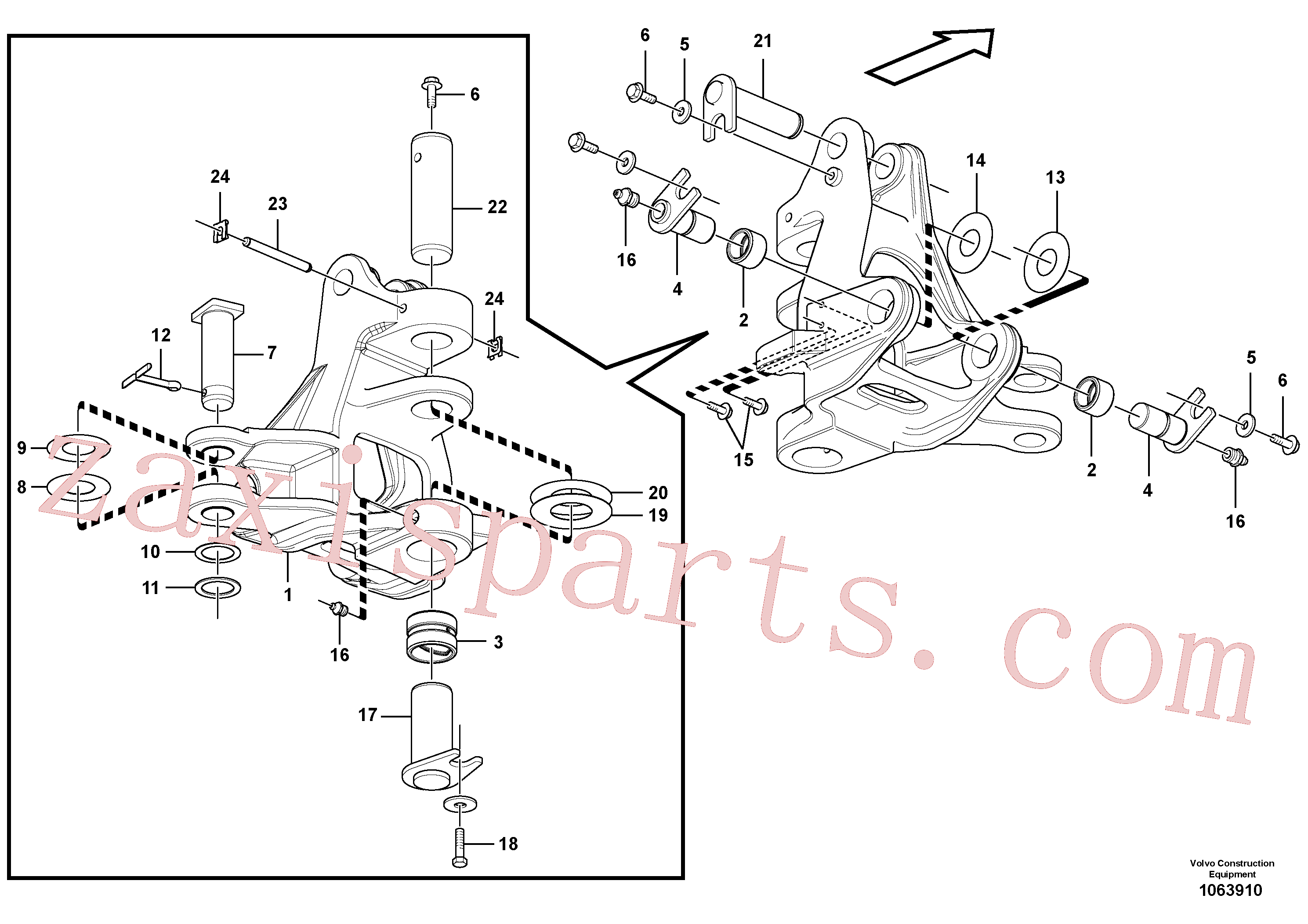 VOE11809122 for Volvo Pivot pin, Slewing post and swing bearing(1063910 assembly)