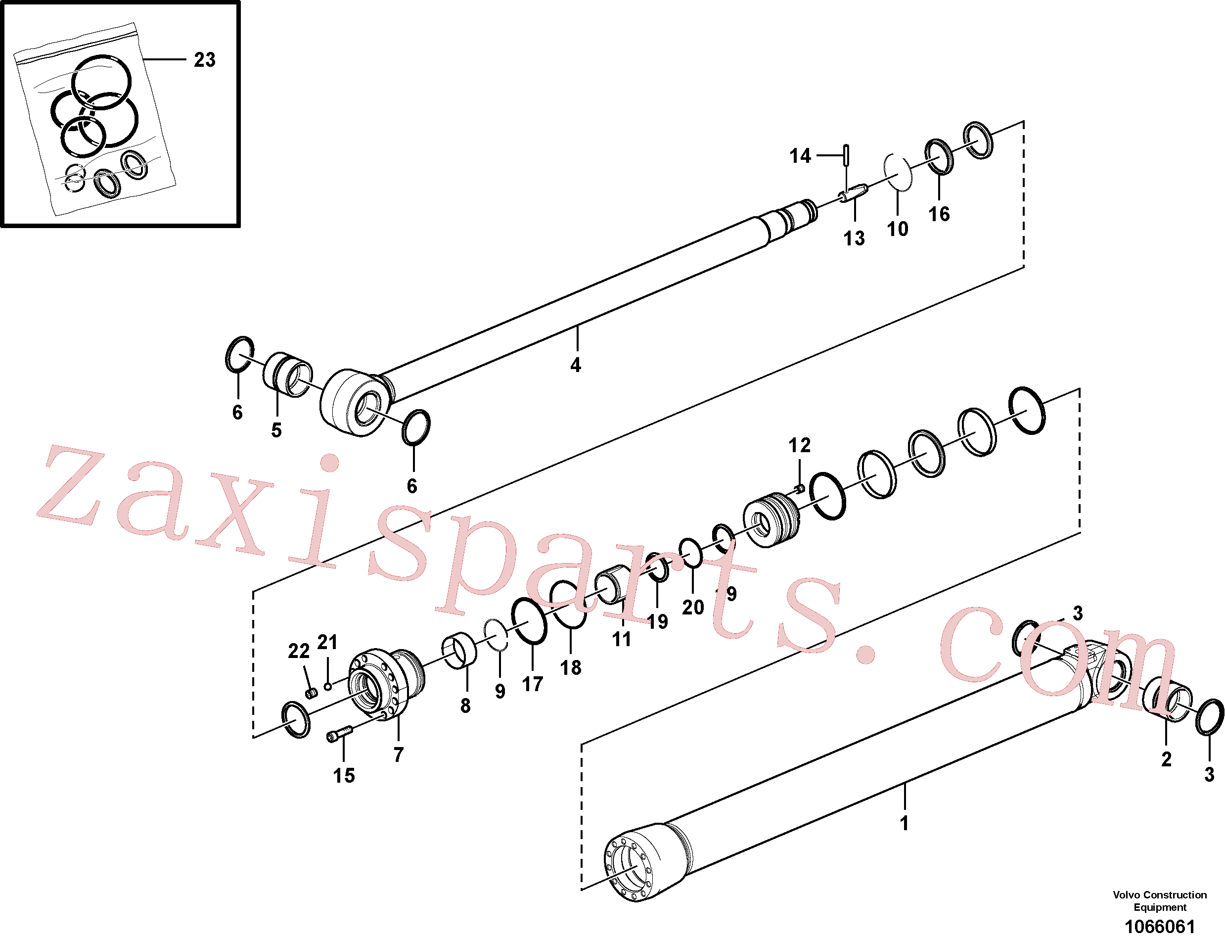 VOE14588456 for Volvo Dipper arm cylinder(1066061 assembly)