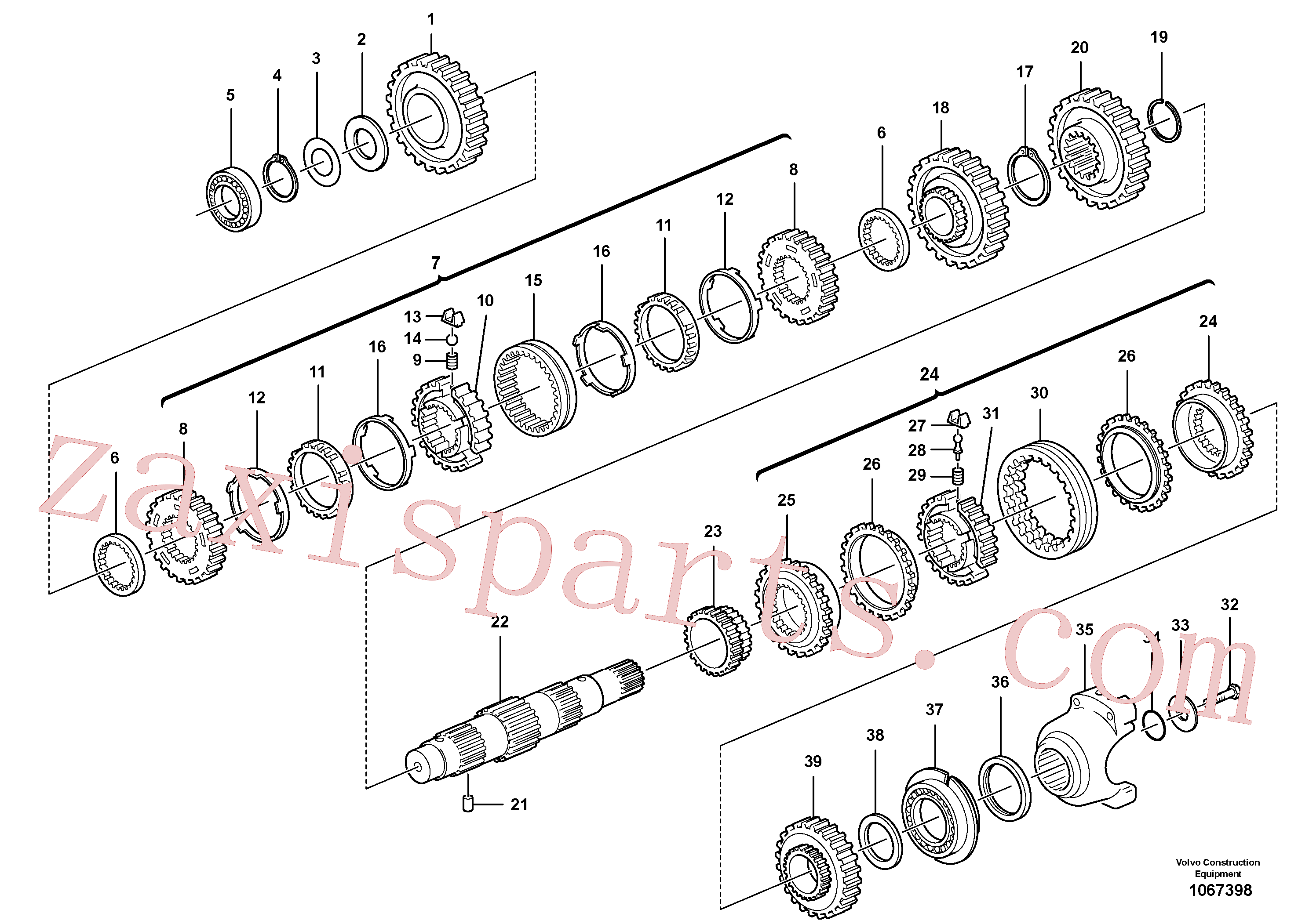 VOE11716672 for Volvo Secondary shaft(1067398 assembly)