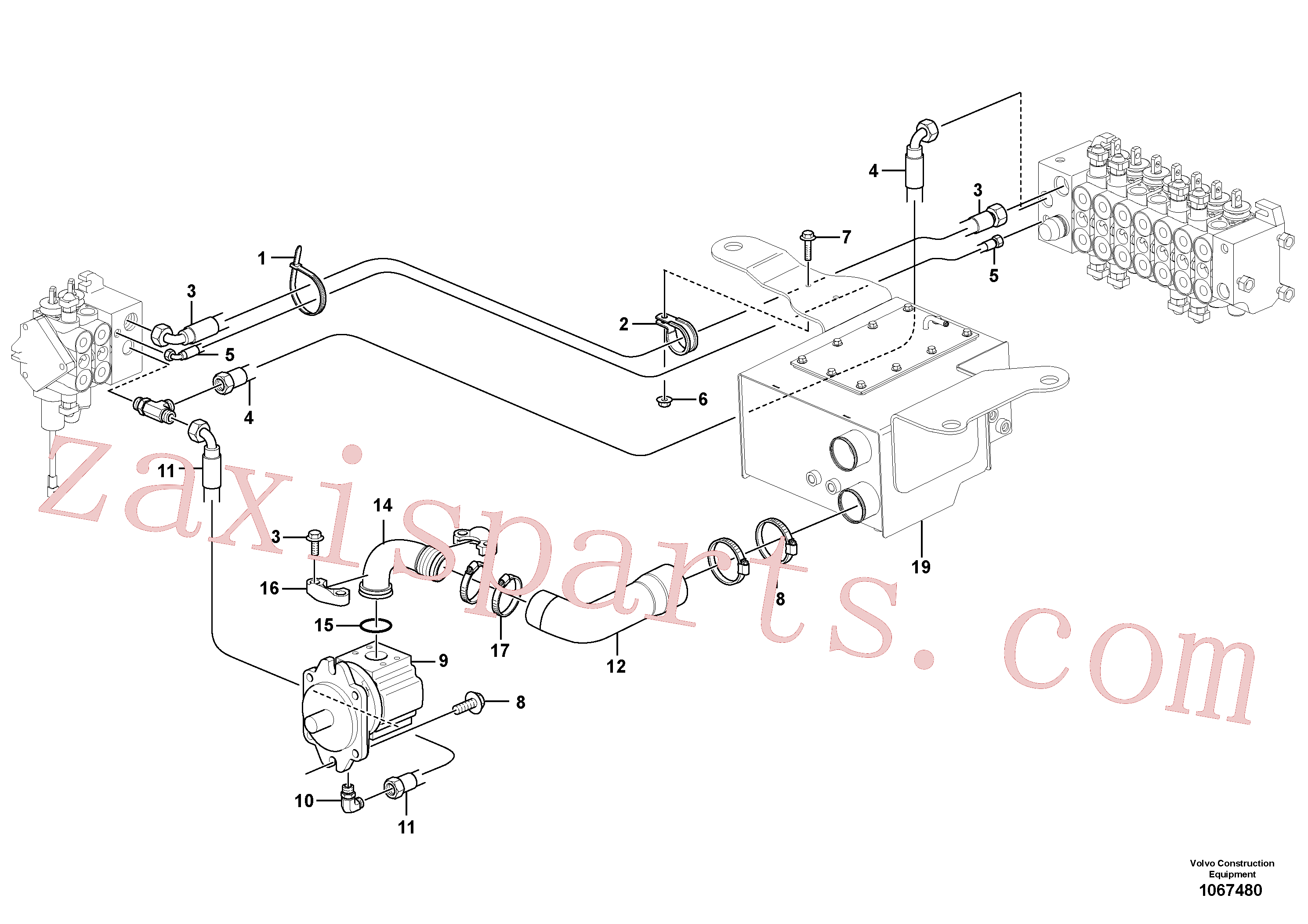 VOE11023360 for Volvo Hydraulic system, suction line(1067480 assembly)