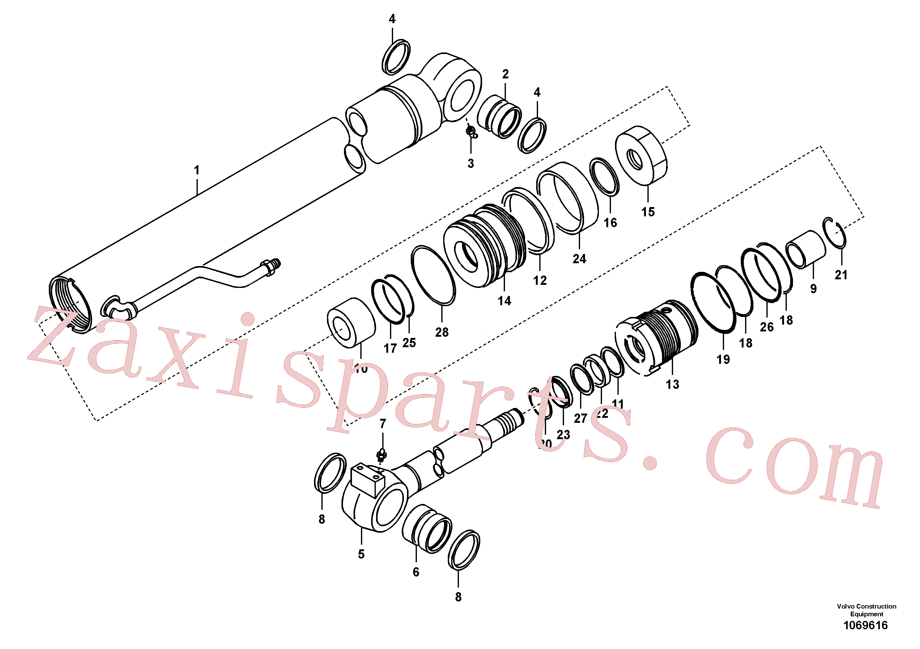 VOE14881297 for Volvo Boom cylinder(1069616 assembly)