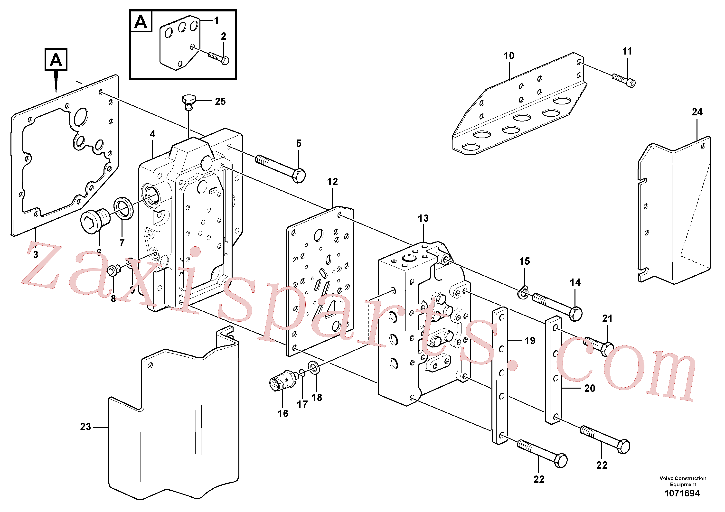 VOE17202563 for Volvo Gear selector valve with fitting parts(1071694 assembly)