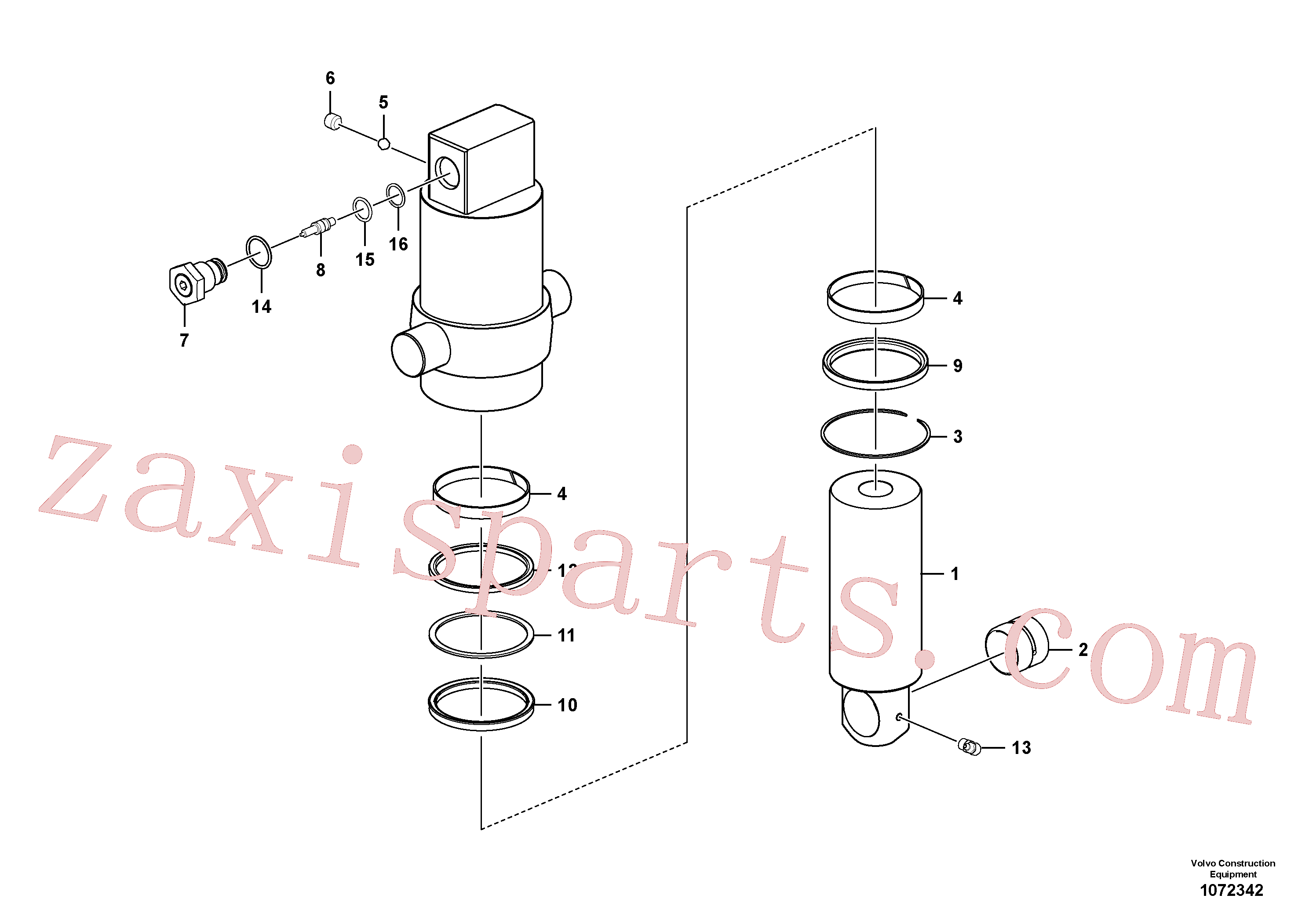 VOE990557 for Volvo Axle locking cylinder(1072342 assembly)