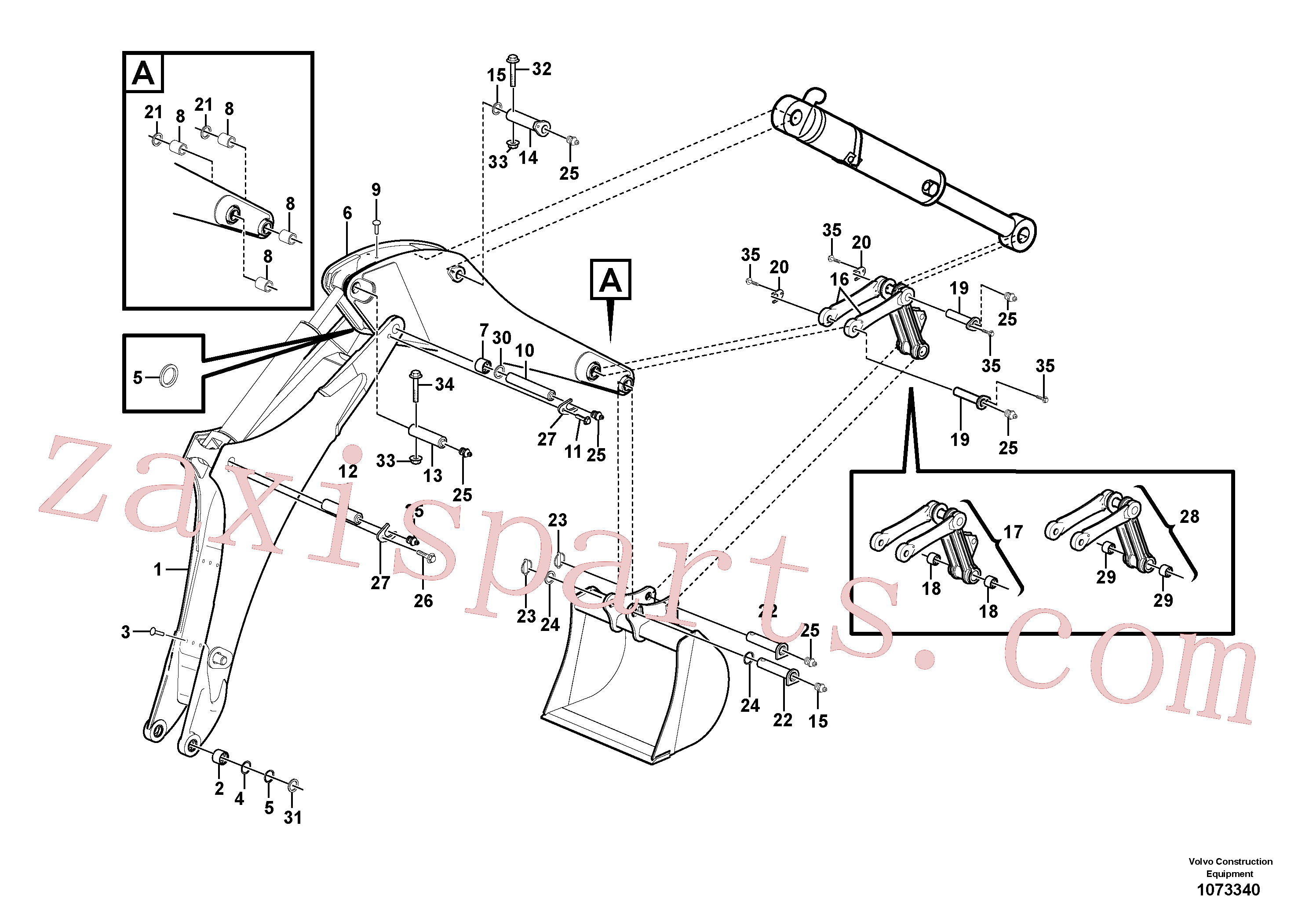 VOE13965229 for Volvo Boom and dipper arm(1073340 assembly)