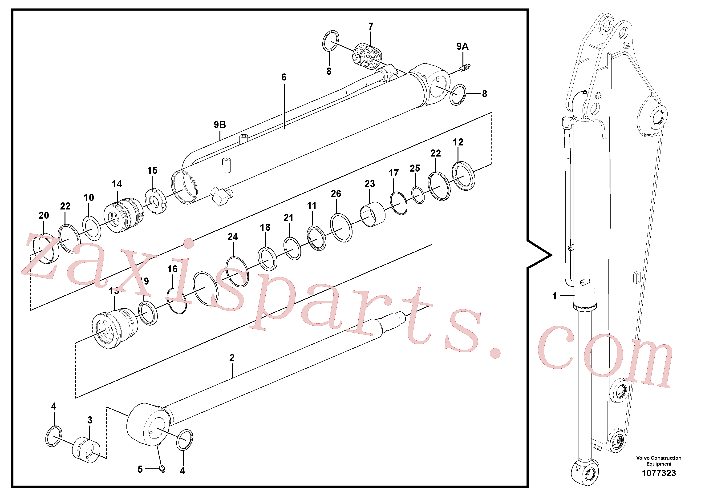 VOE14532859 for Volvo Bucket cylinder(1077323 assembly)