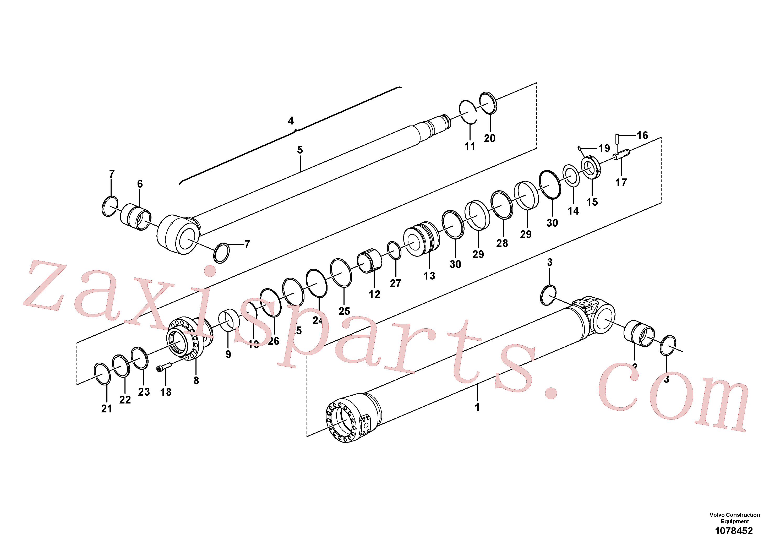 VOE14518587 for Volvo Dipper arm cylinder(1078452 assembly)