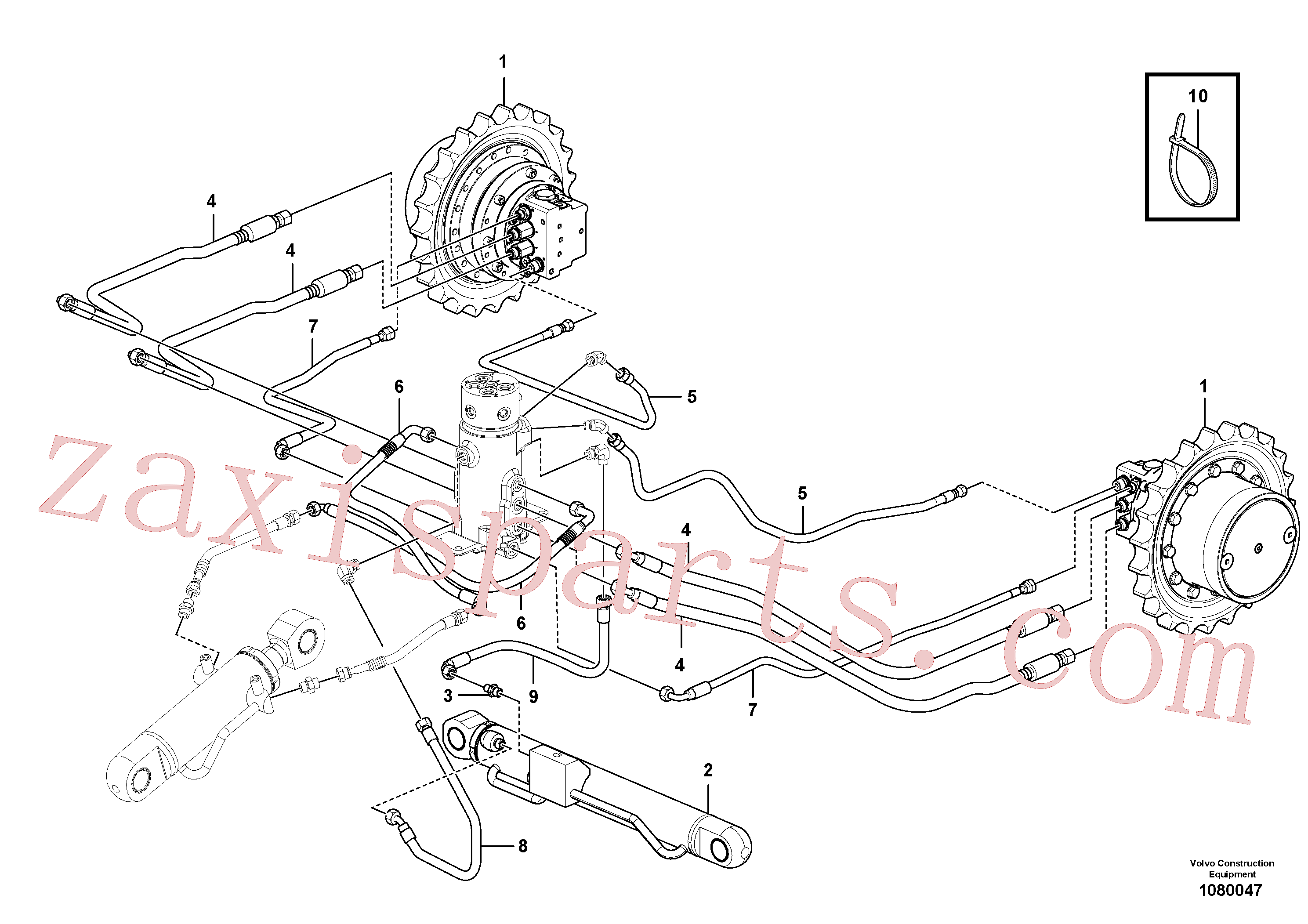 VOE15615702 for Volvo Turning joint line, turning joint to travel motor(1080047 assembly)