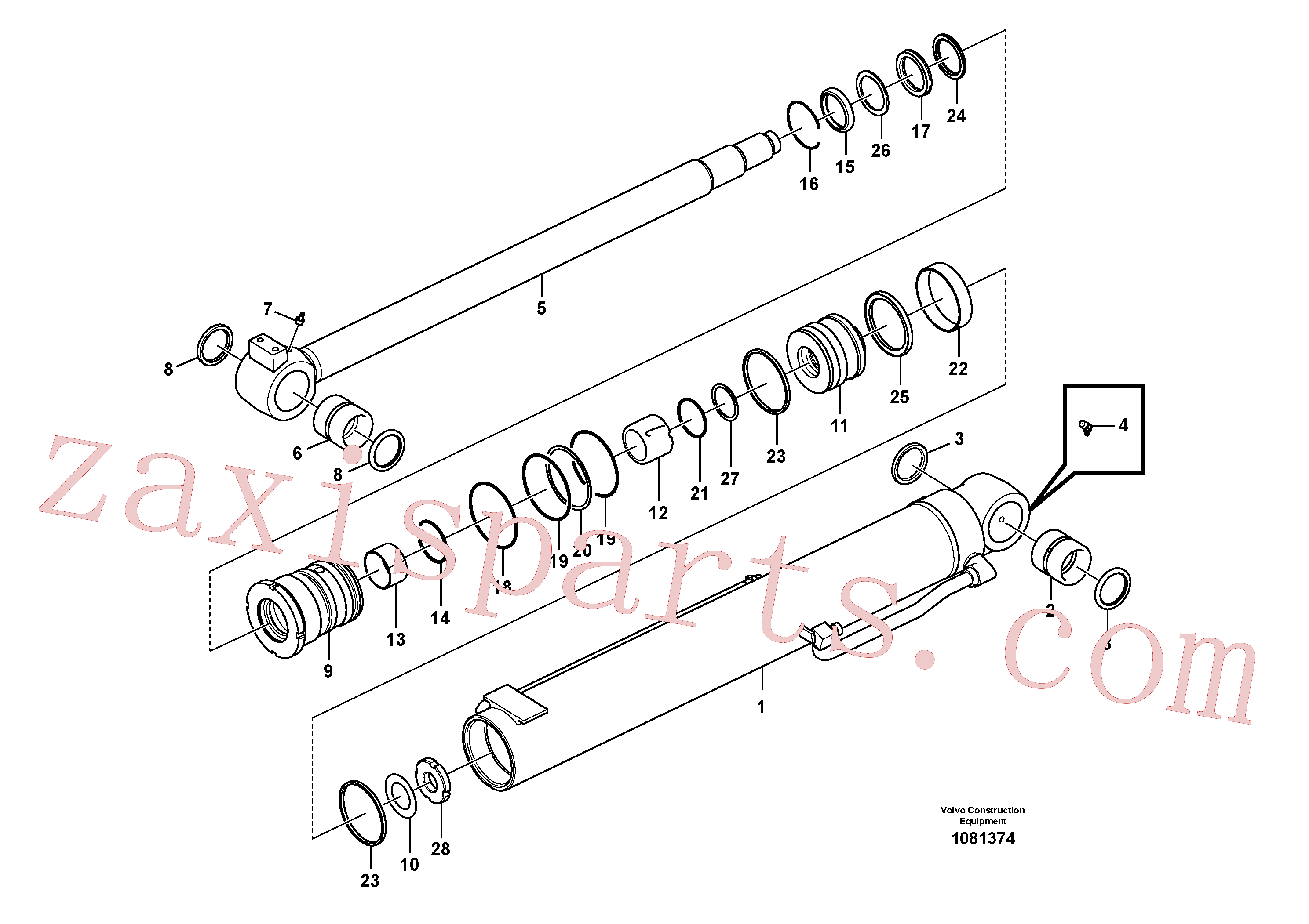 VOE14535605 for Volvo Boom cylinder(1081374 assembly)
