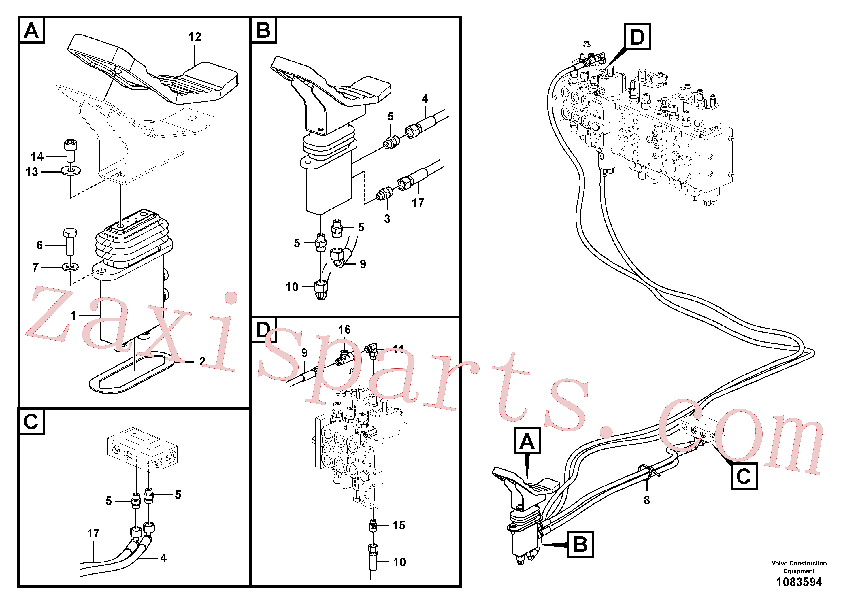 VOE14534435 for Volvo Servo system, control valve to remote control valve pedal(1083594 assembly)
