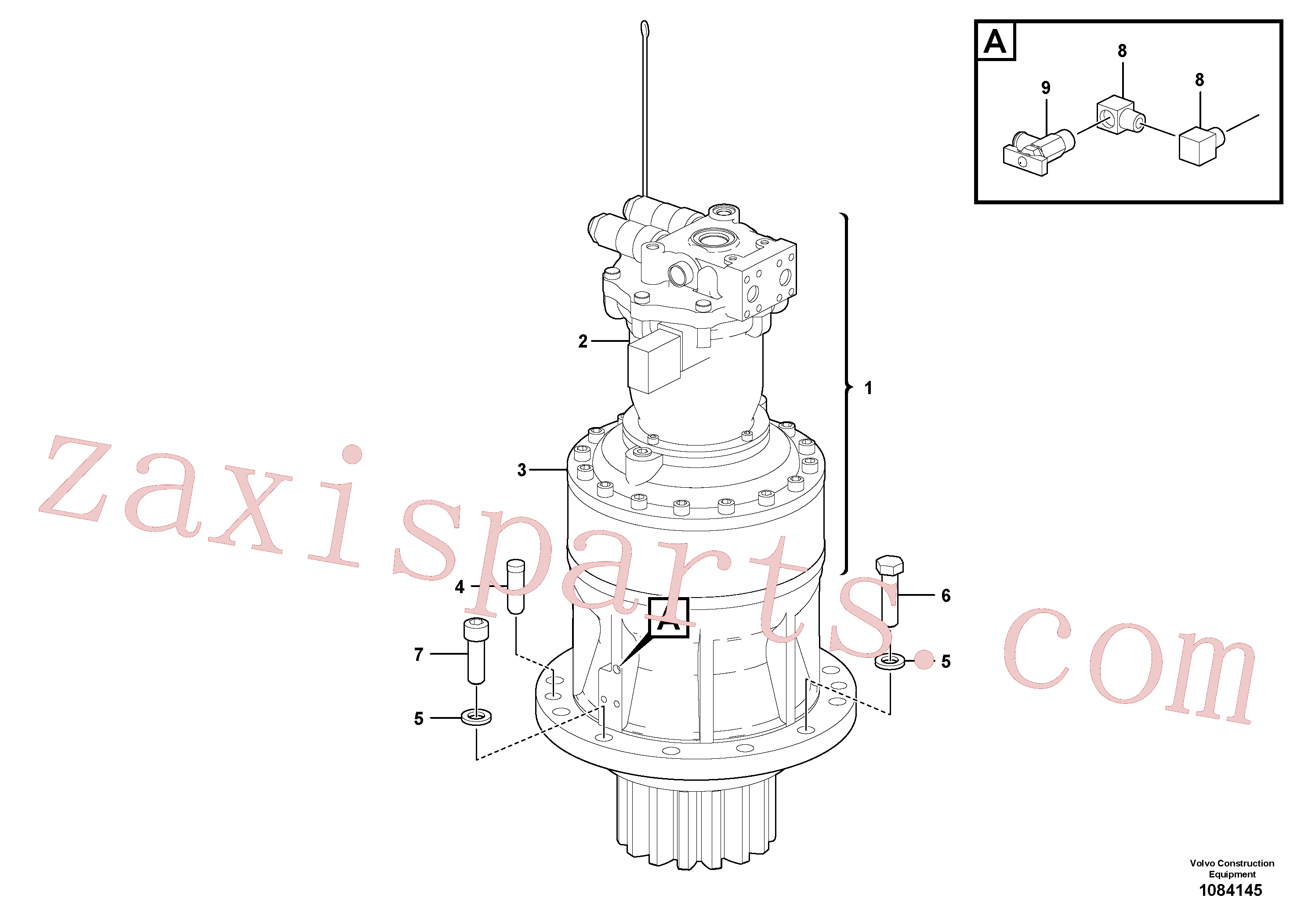 VOE14702357 for Volvo Swing motor with mounting parts(1084145 assembly)