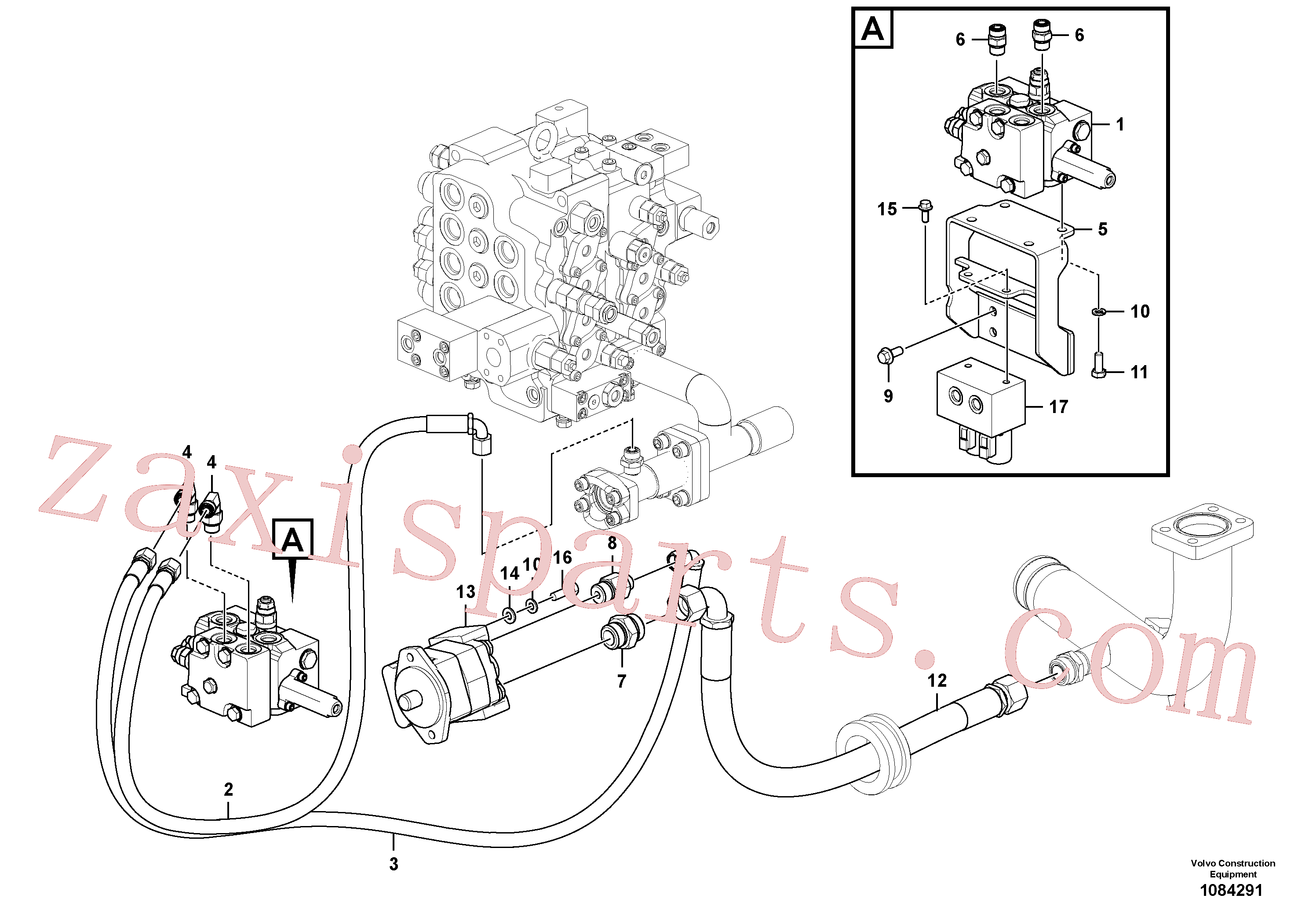 VOE937521 for Volvo Working hydraulic, slope and rotator on upper frame(1084291 assembly)