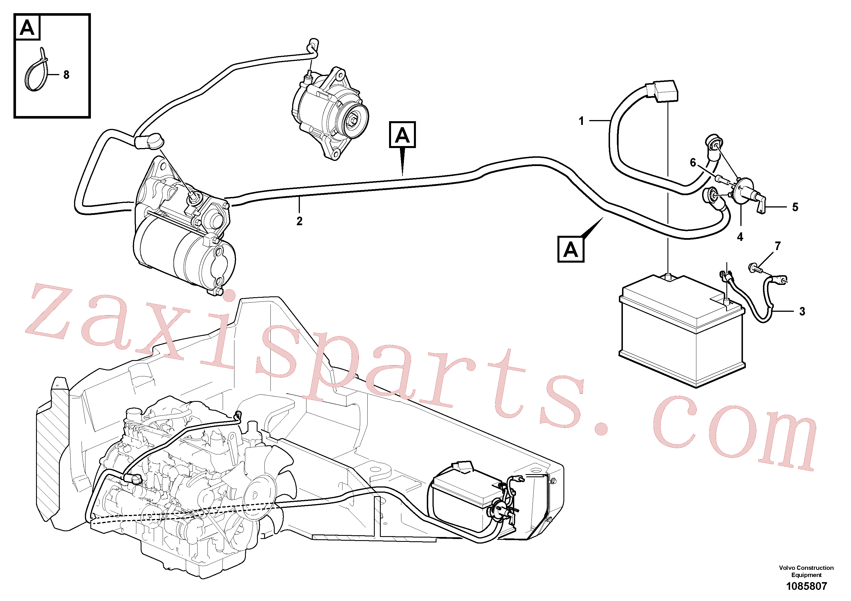 VOE994823 for Volvo Battery cable and main switch(1085807 assembly)