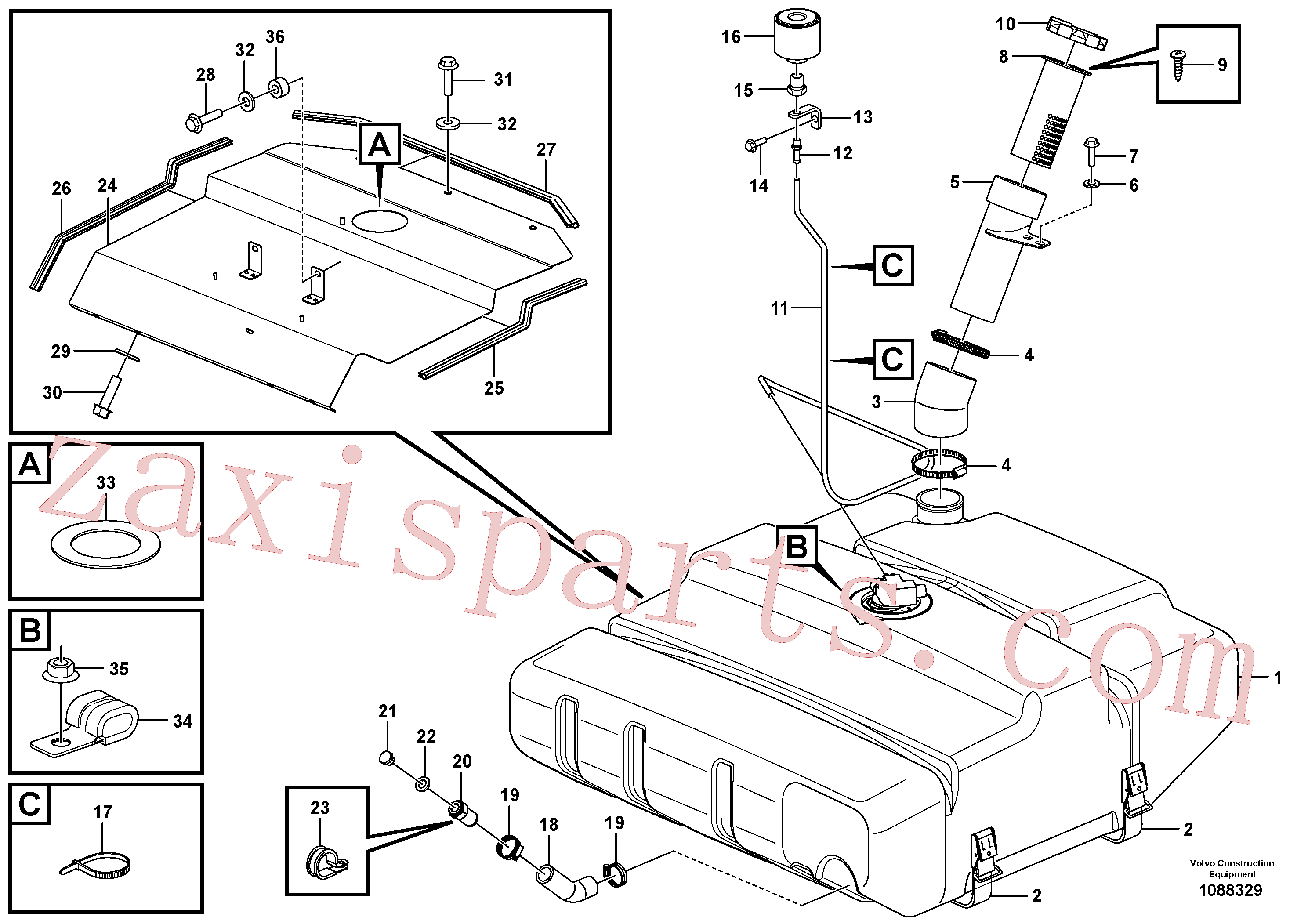 VOE943483 for Volvo Fuel tank with fitting parts(1088329 assembly)