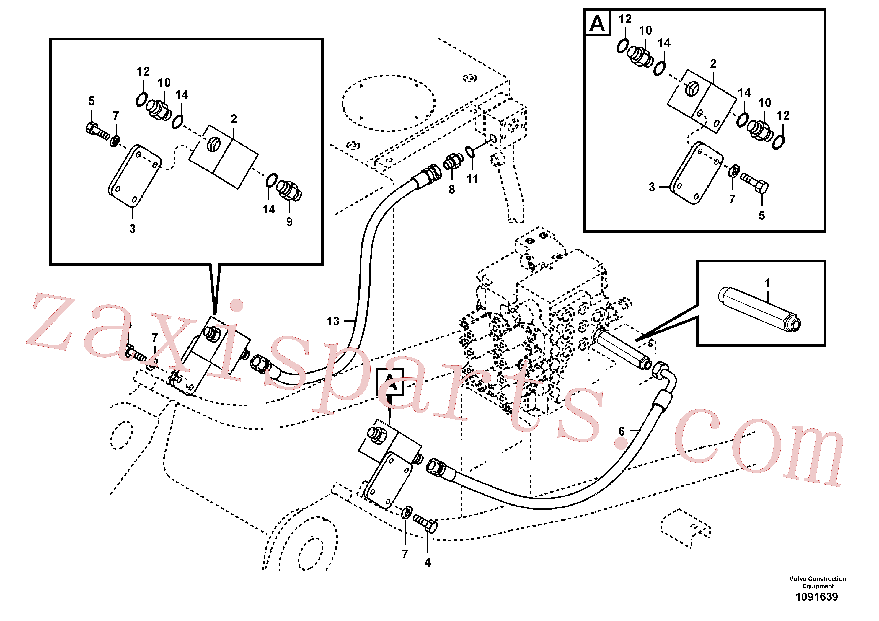 SA9403-05616 for Volvo Working hydraulic, hammer and shear for upper(1091639 assembly)