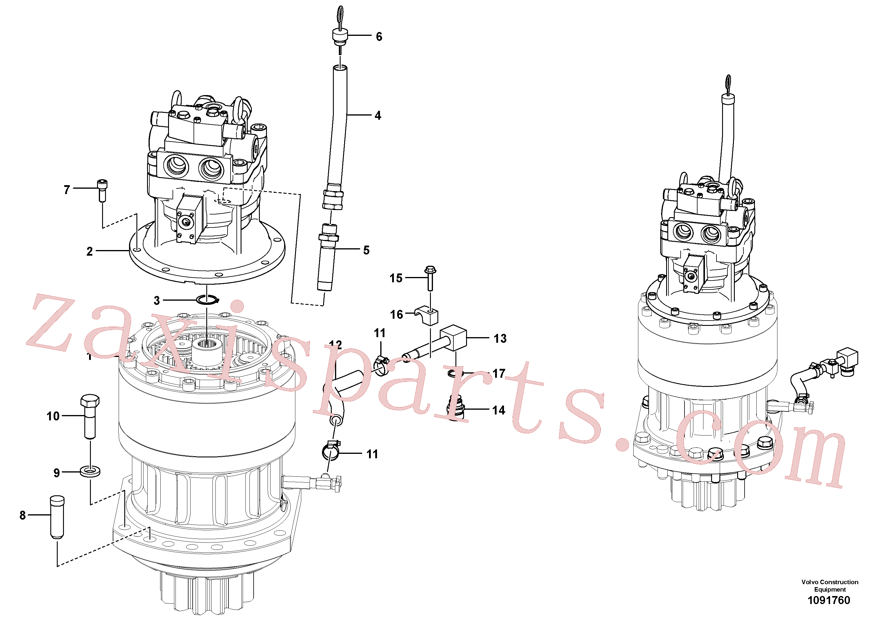 VOE14531024 for Volvo Swing motor with mounting parts(1091760 assembly)
