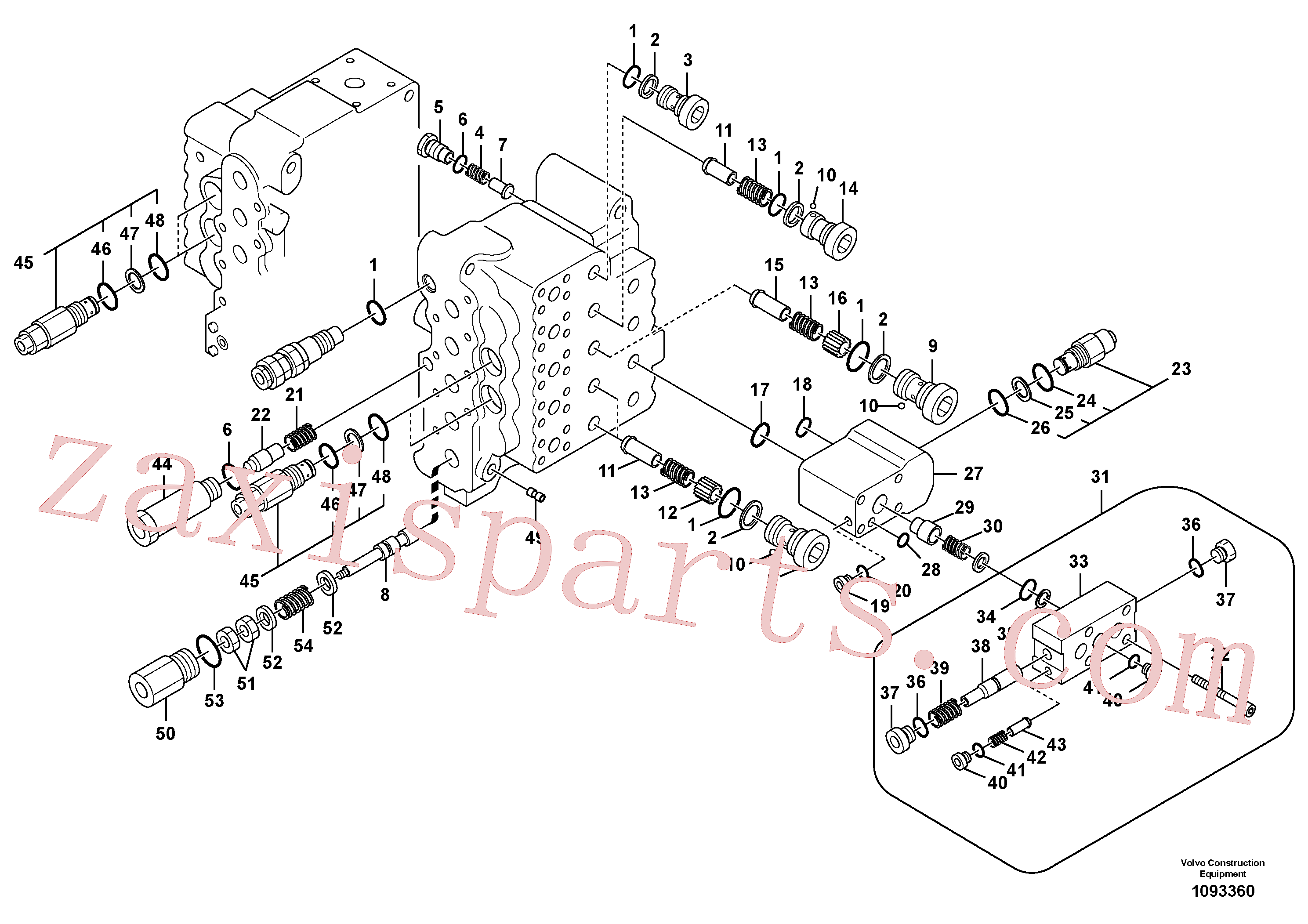 SA7273-10670 for Volvo Main control valve, relief valve and dipper arm holding(1093360 assembly)