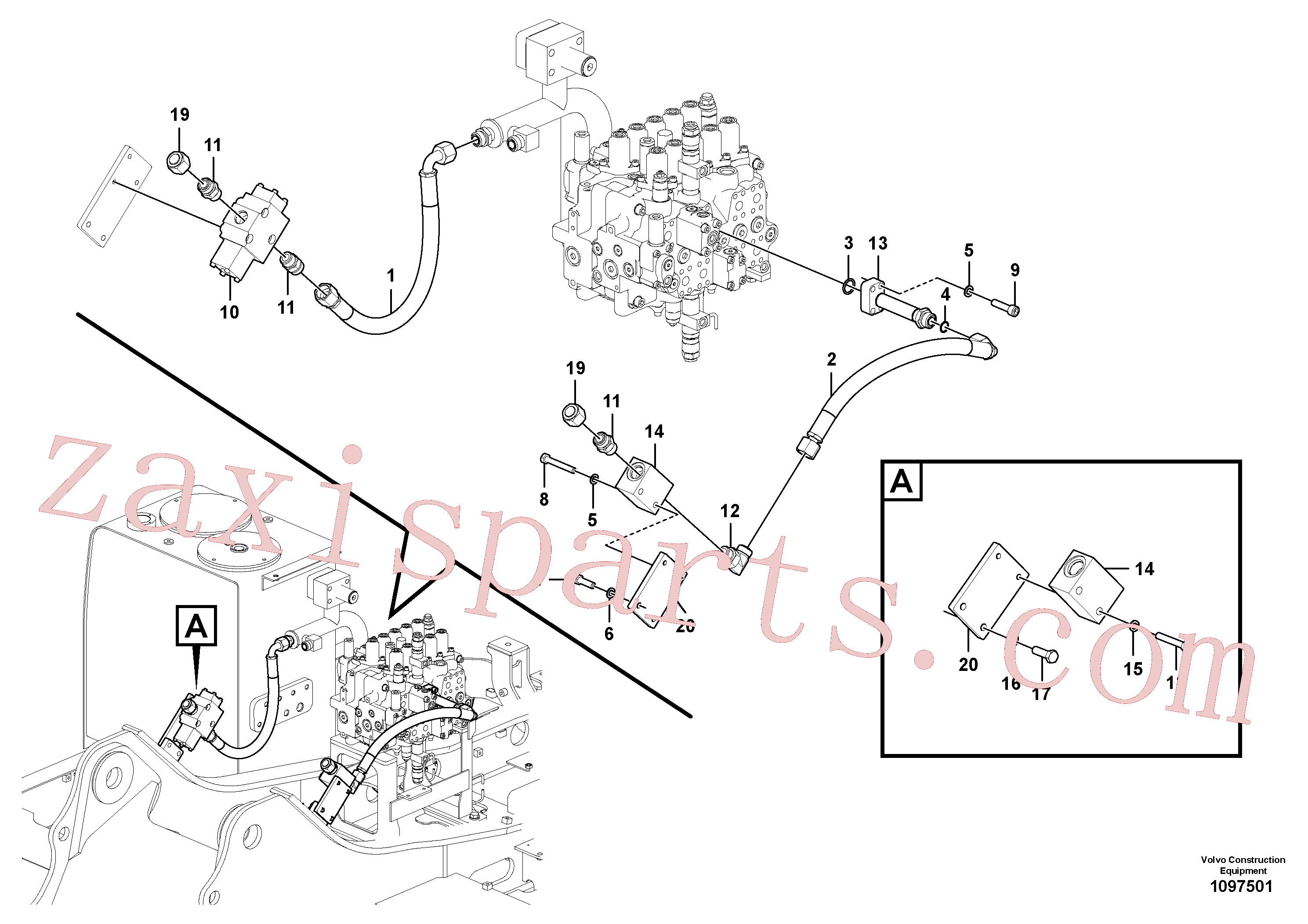 VOE14566294 for Volvo Working hydraulic, hammer and shear for upper(1097501 assembly)