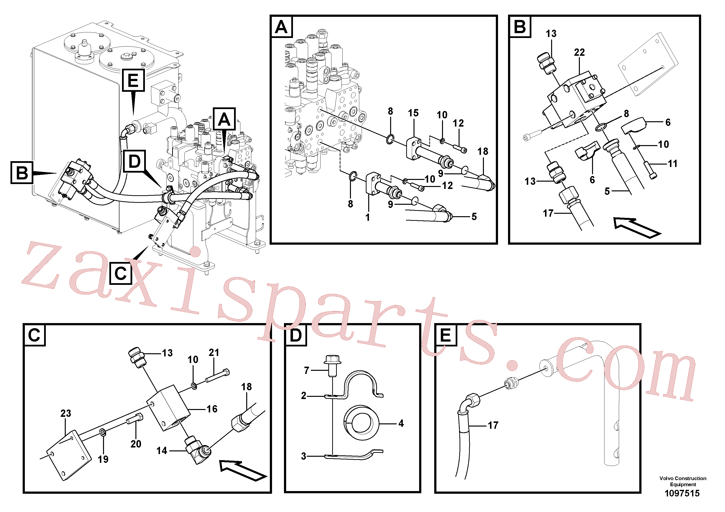VOE14566294 for Volvo Working hydraulic, hammer and shear for upper(1097515 assembly)
