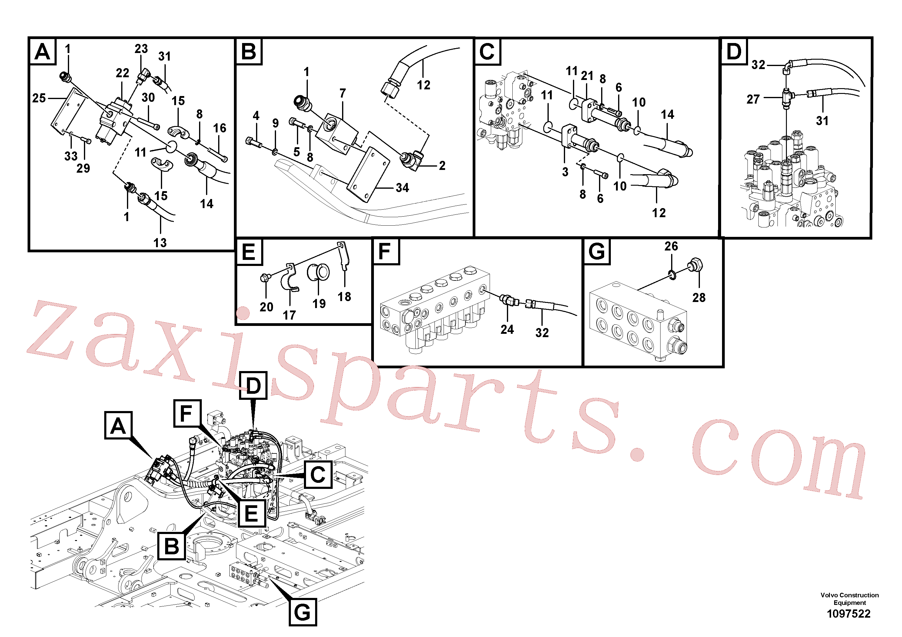 VOE14566294 for Volvo Working hydraulic, hammer and shear for upper(1097522 assembly)