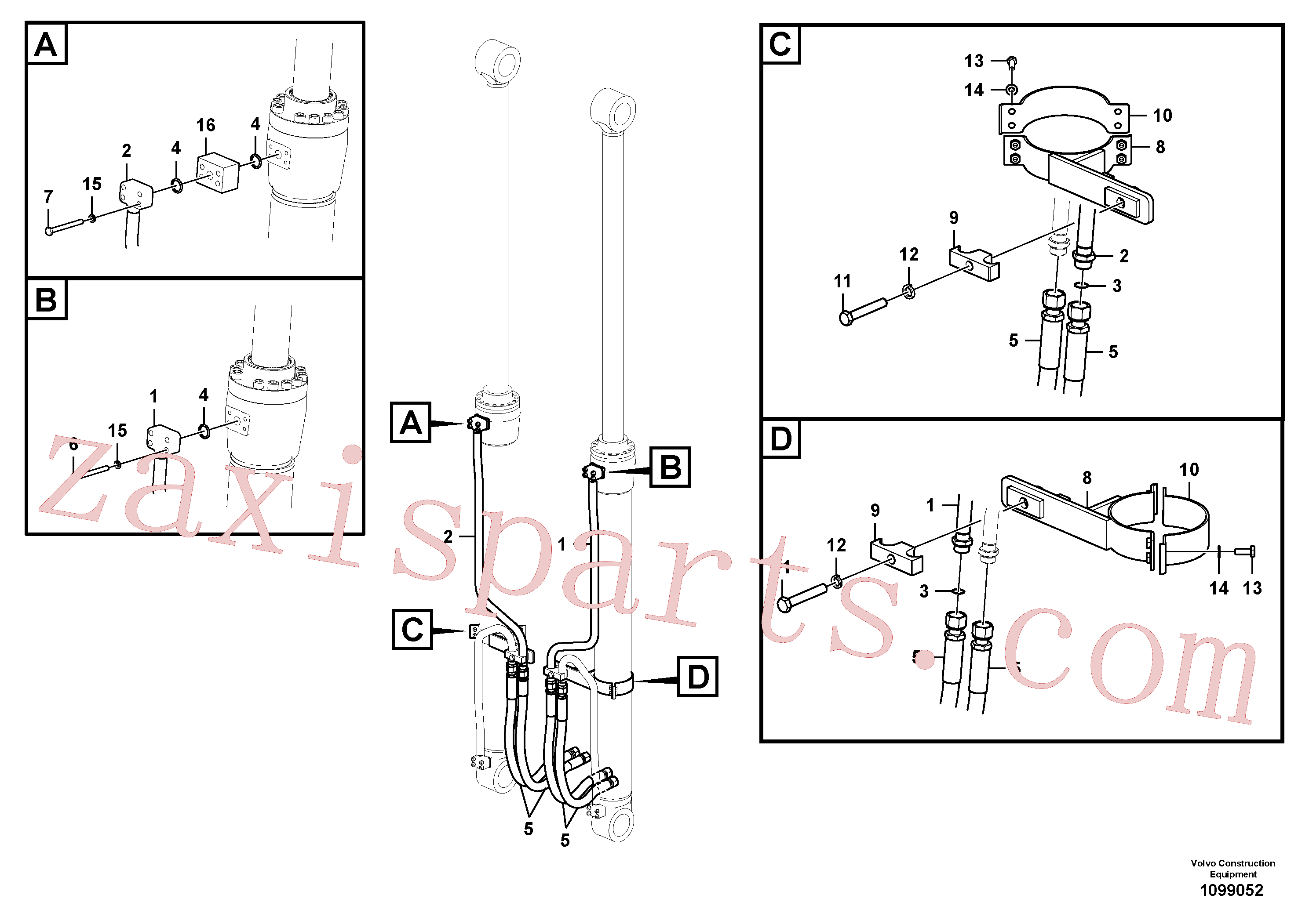 VOE14518015 for Volvo Working hydraulic, boom cylinder(1099052 assembly)