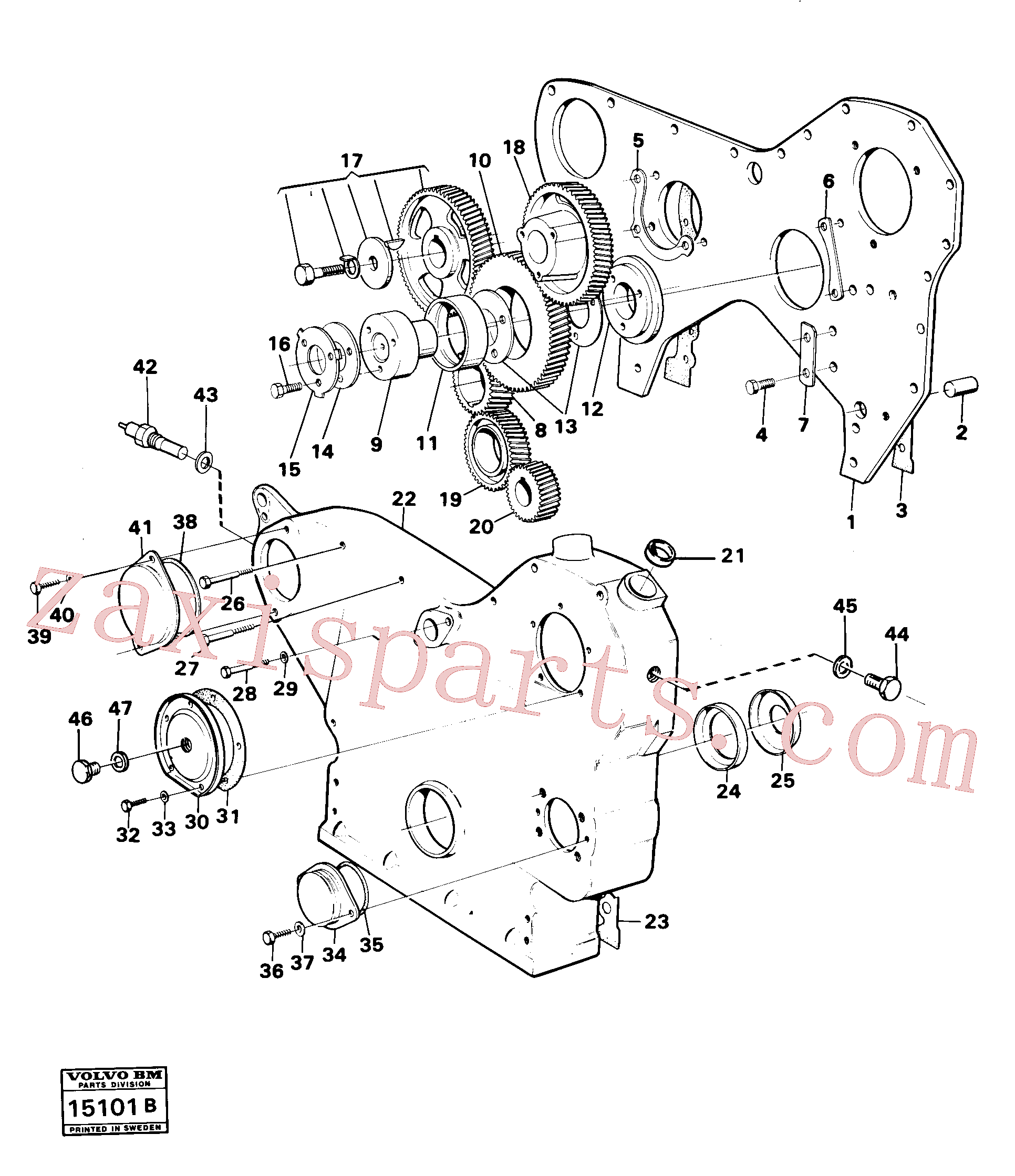 VOE13940133 for Volvo Timing gear casing and gears(15101B assembly)