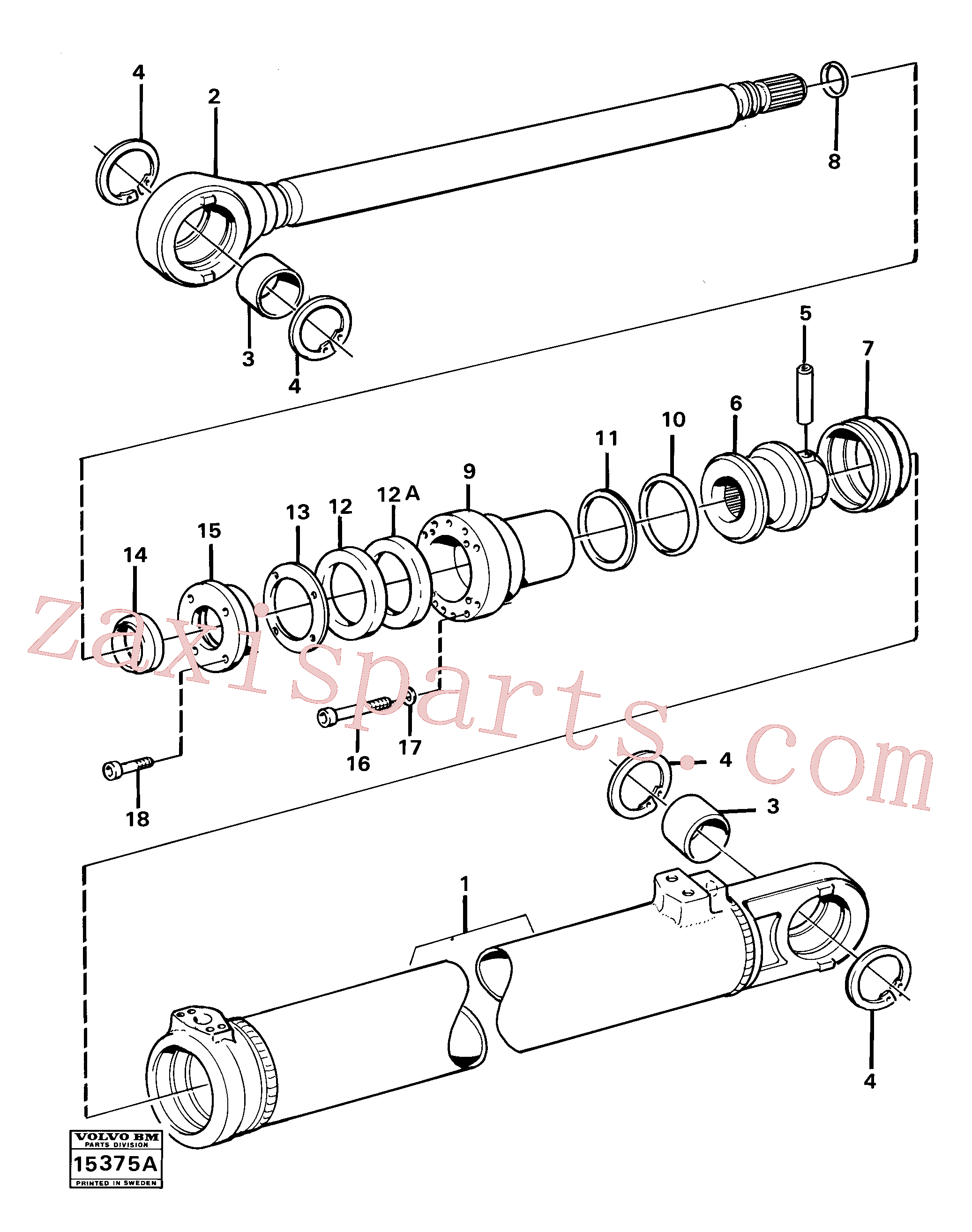 VOE14013014 for Volvo Hydraulic cylinder tilting(15375A assembly)