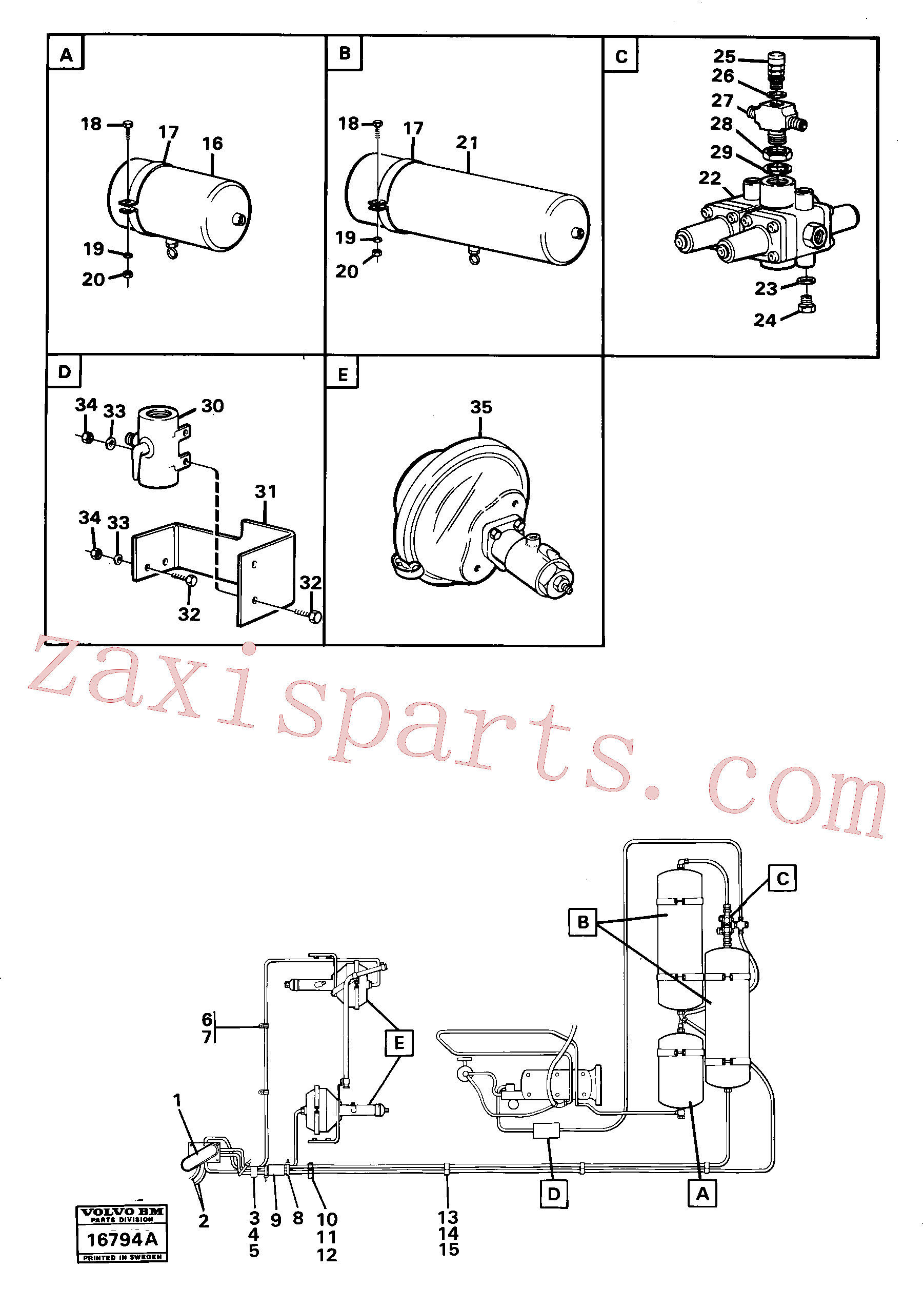 VOE13955272 for Volvo Pneumatic system with componets(16794A assembly)