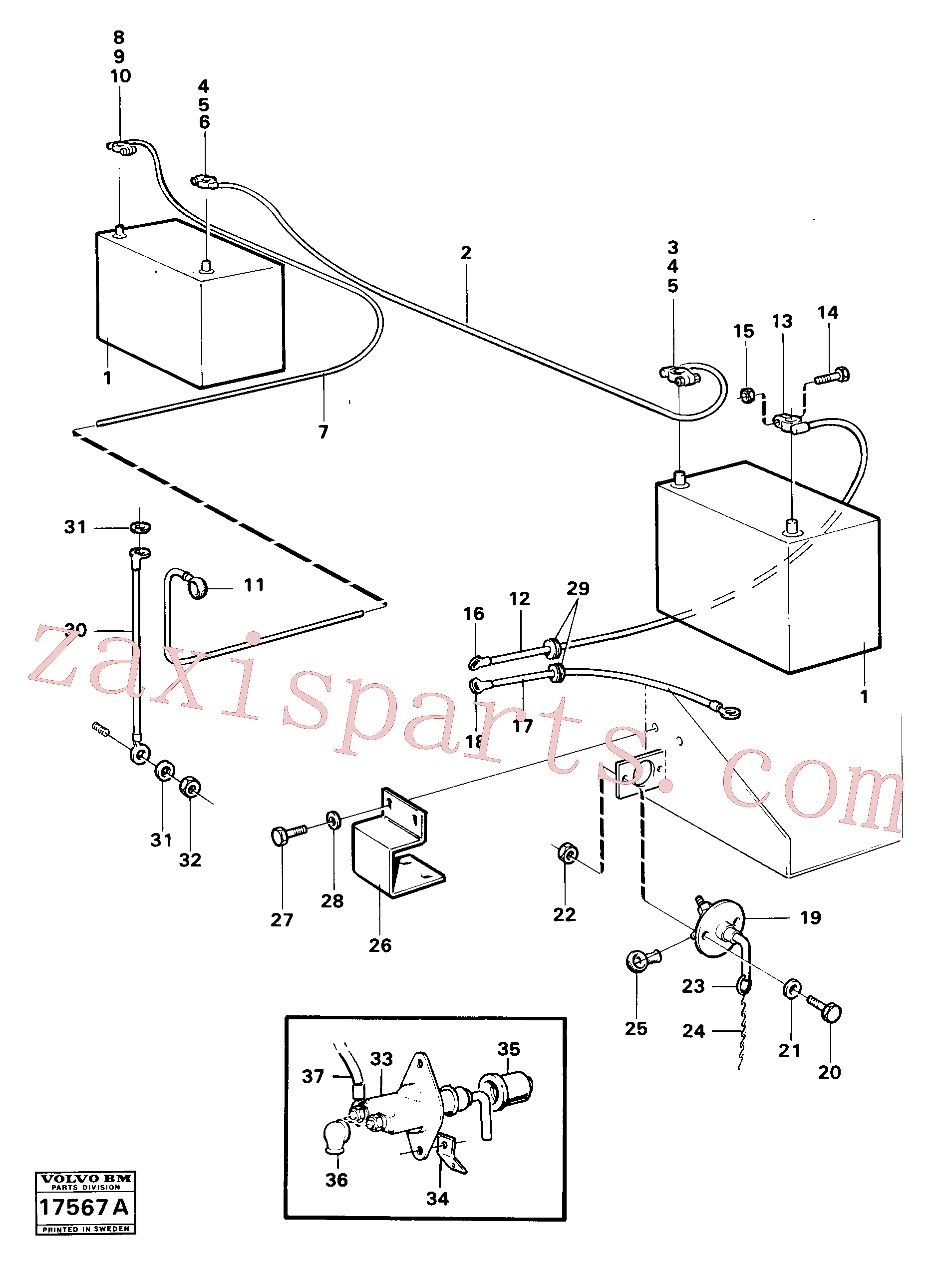 VOE13955781 for Volvo Battery with assembling details(17567A assembly)