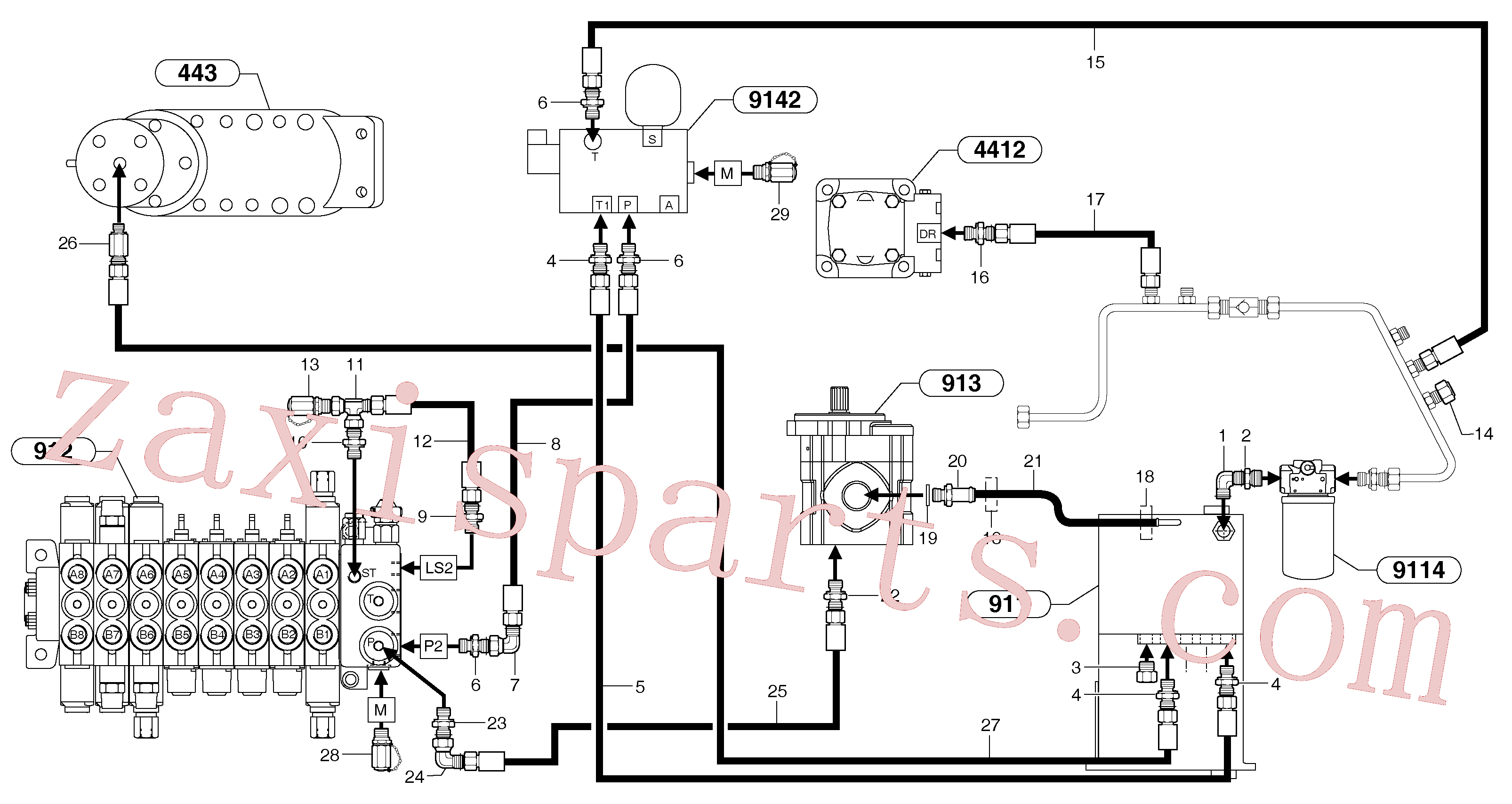 PJ4192437 for Volvo Attachments supply and return circuit(9112Z1 assembly)